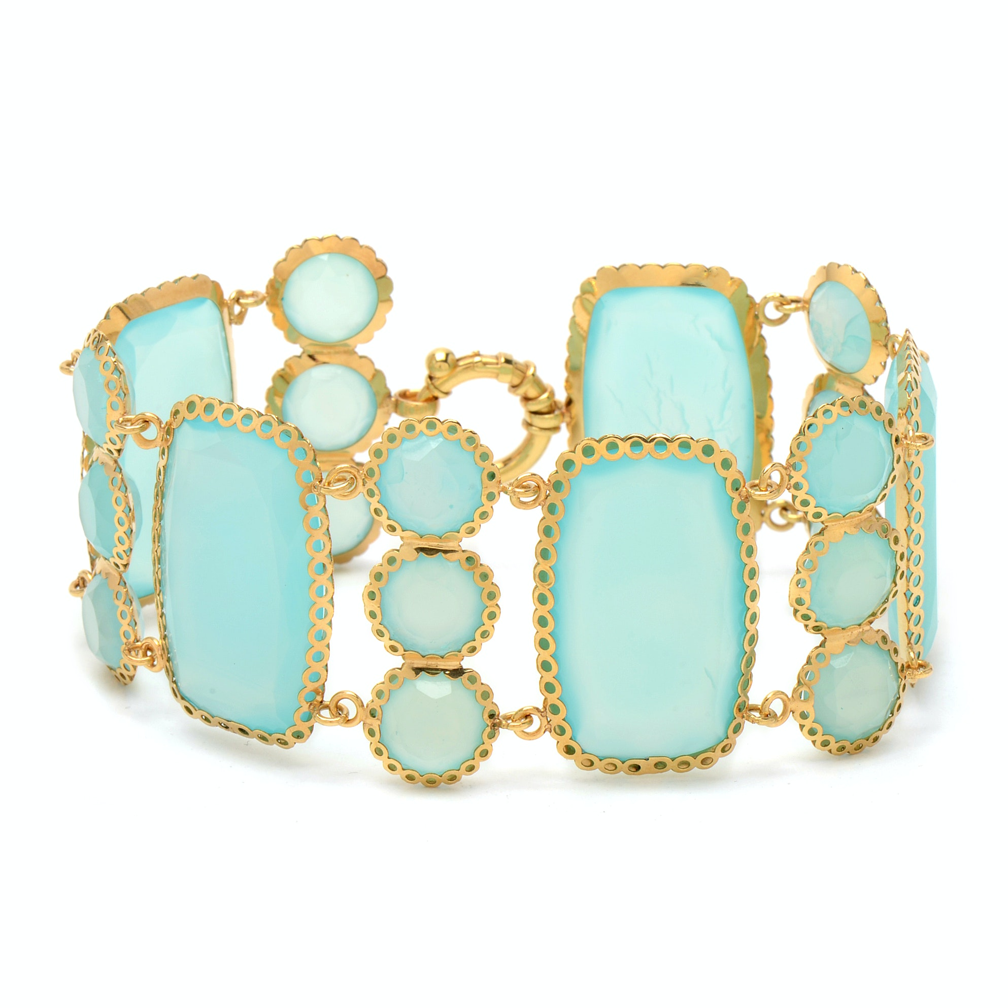14K Yellow Gold Dyed Chalcedony Bracelet