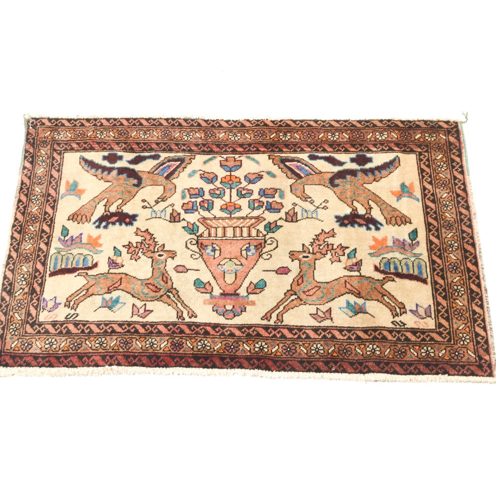 """Vintage Hand-Knotted Persian Qum """"Hunting"""" Accent Rug"""