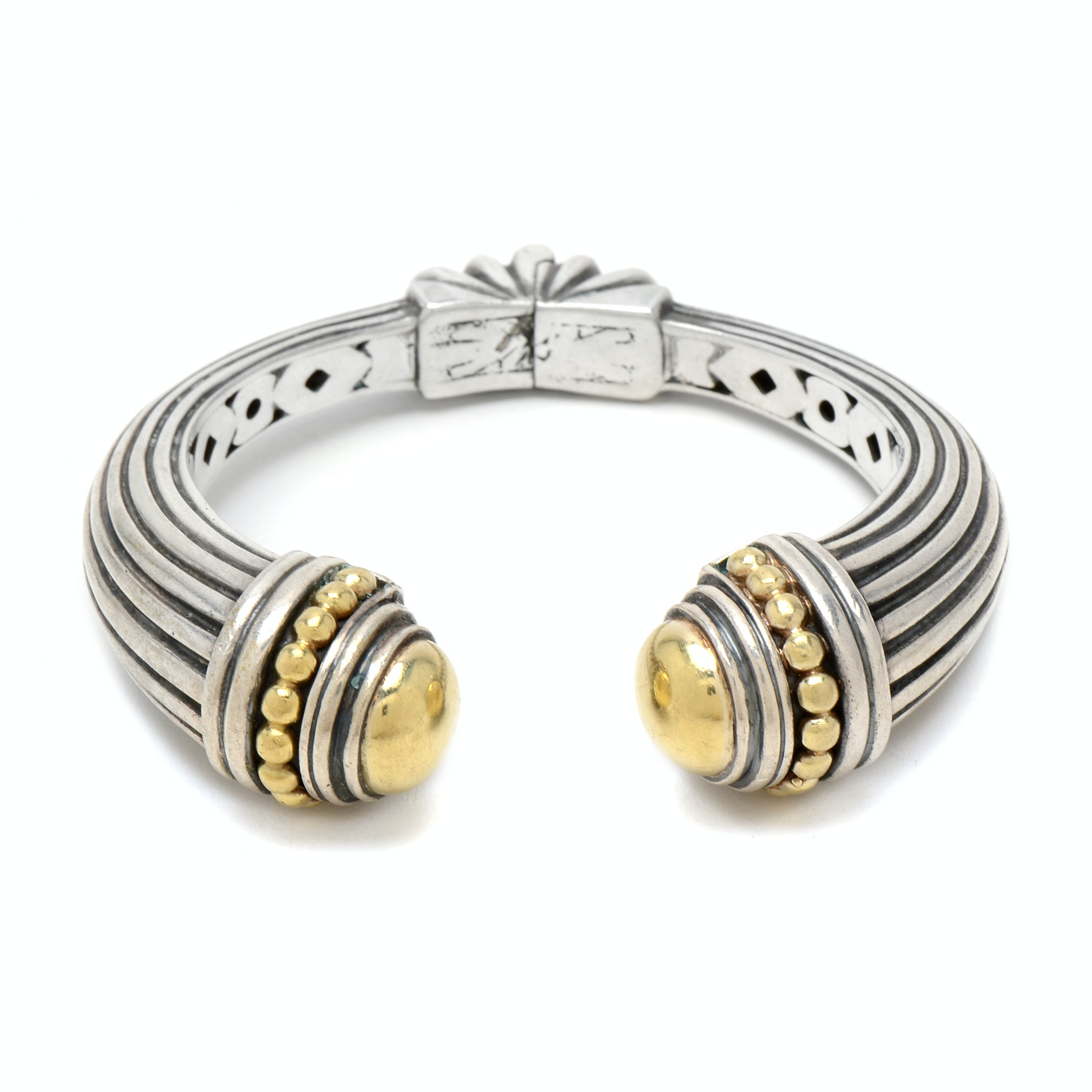 Caviar Sterling Silver and 18K Yellow Gold Cuff Bracelet