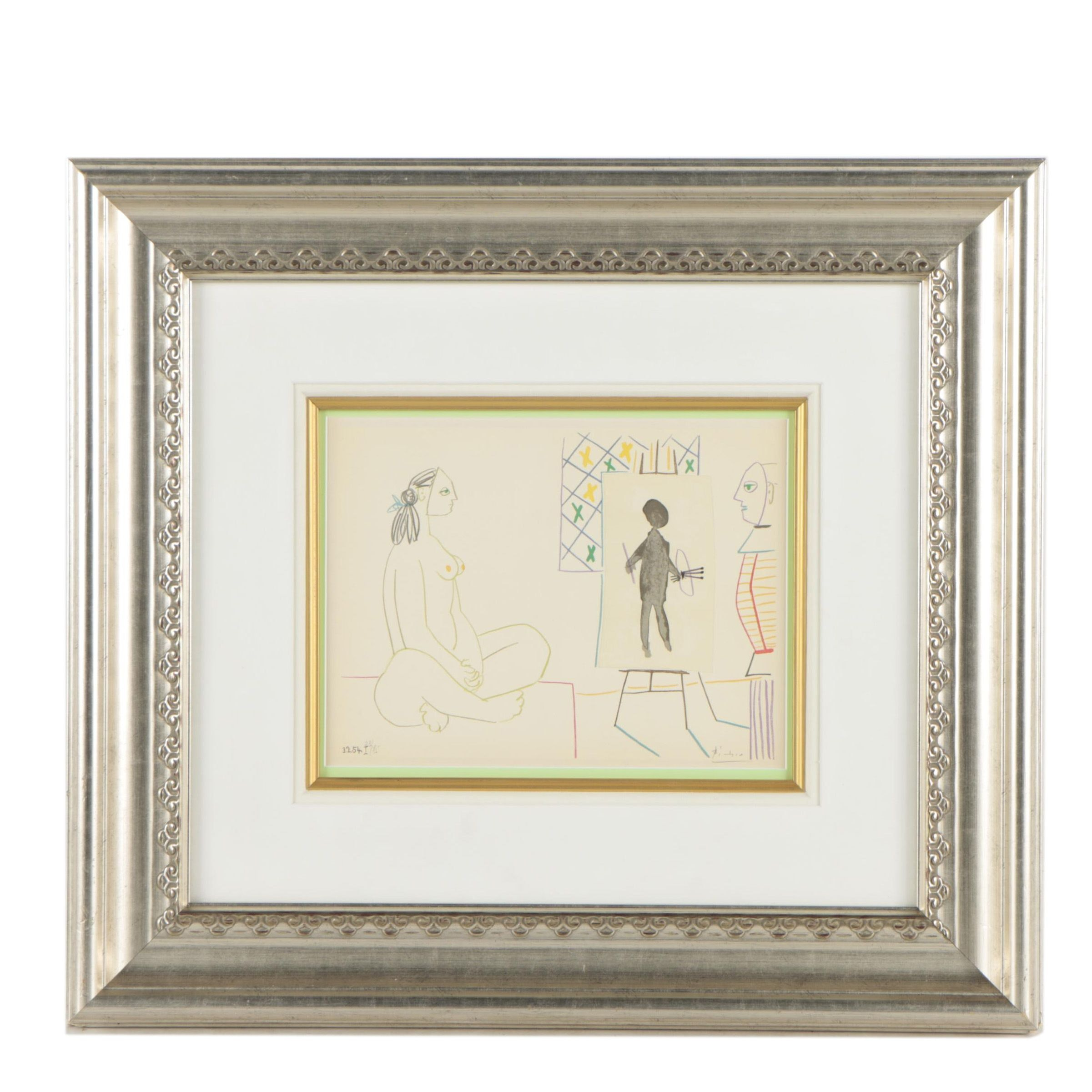 """Color Lithograph After Pablo Picasso """" The Painter and The Model"""""""