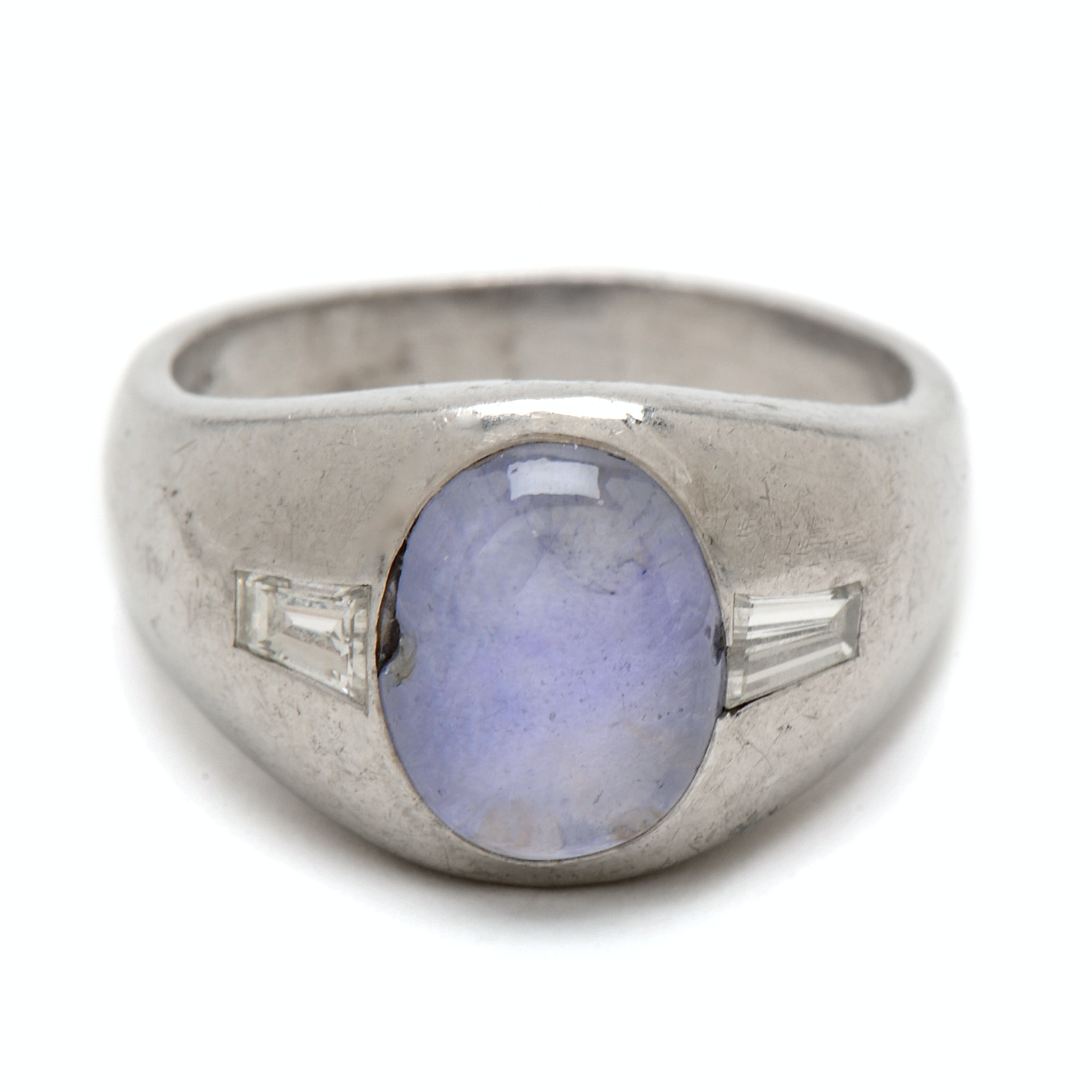 Platinum Star Sapphire and Diamond Baguette Ring