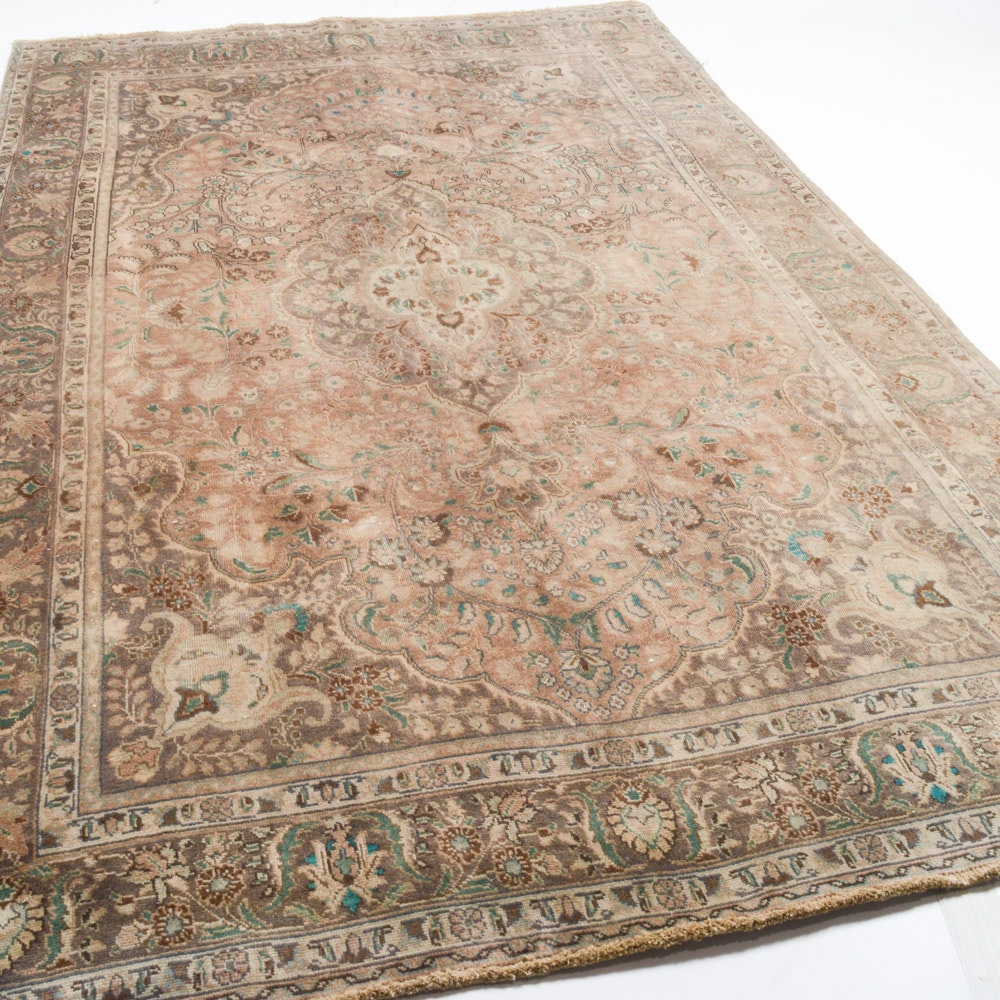 Semi-Antique Hand-Knotted Persian Tabriz Rug