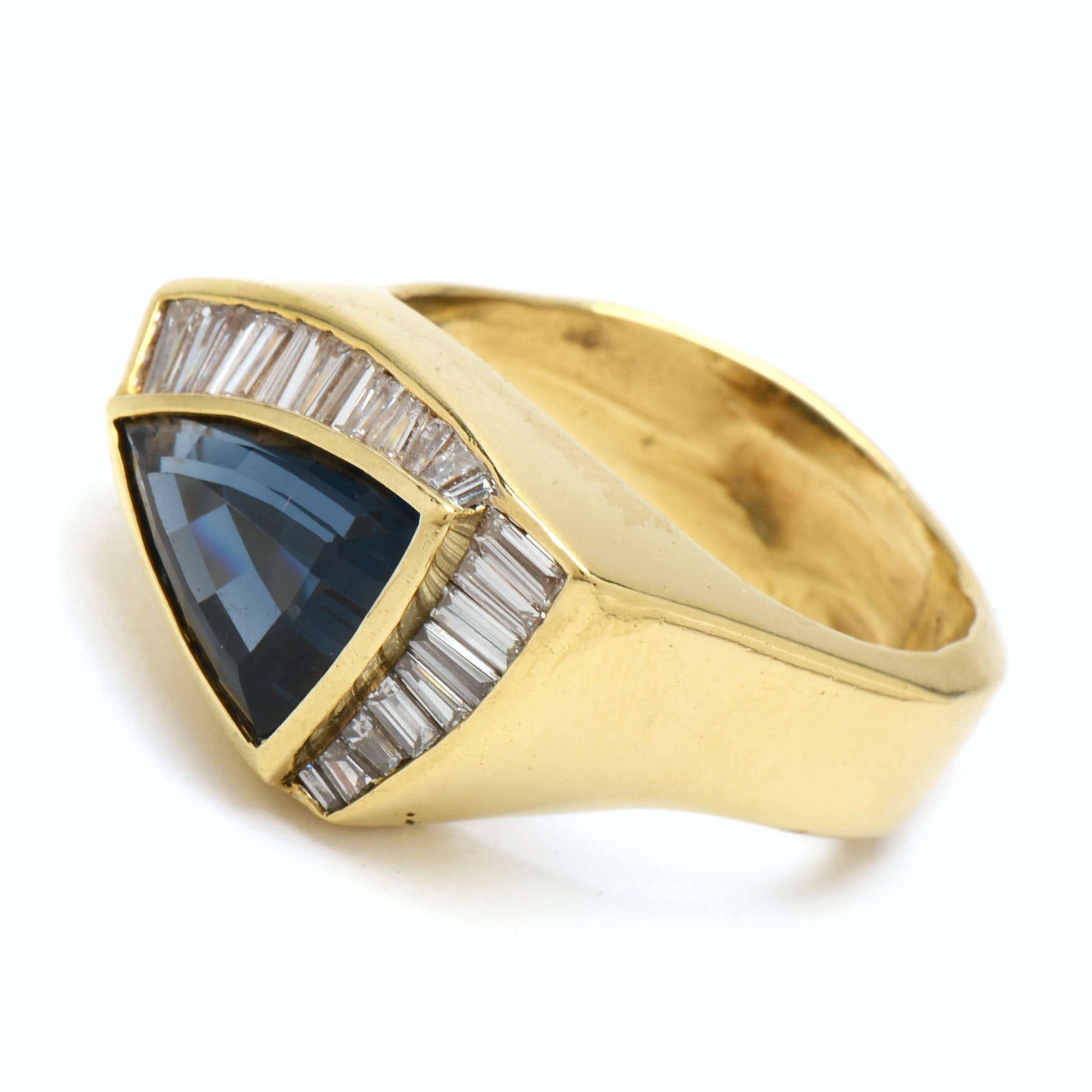 18K Yellow Gold Topaz and Diamond Baguette Ring