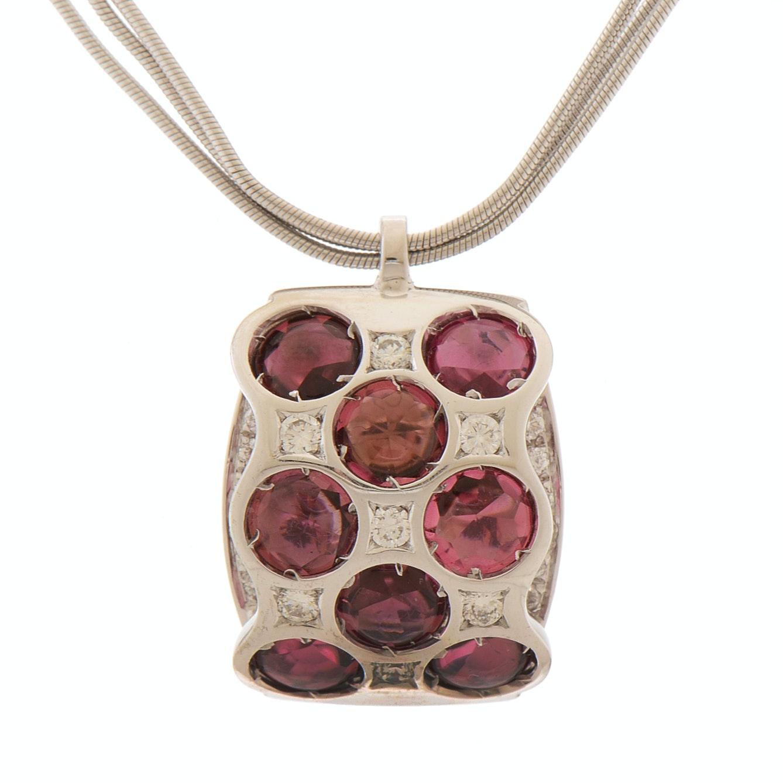 18K White Gold Bibigi' Pink Tourmaline and Diamond Necklace