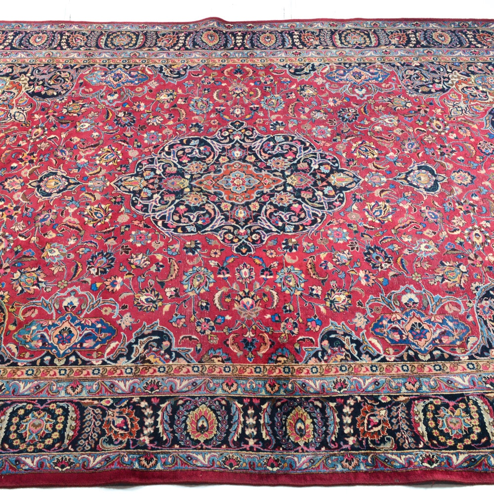 Vintage Hand-Knotted Persian Mashad Rug