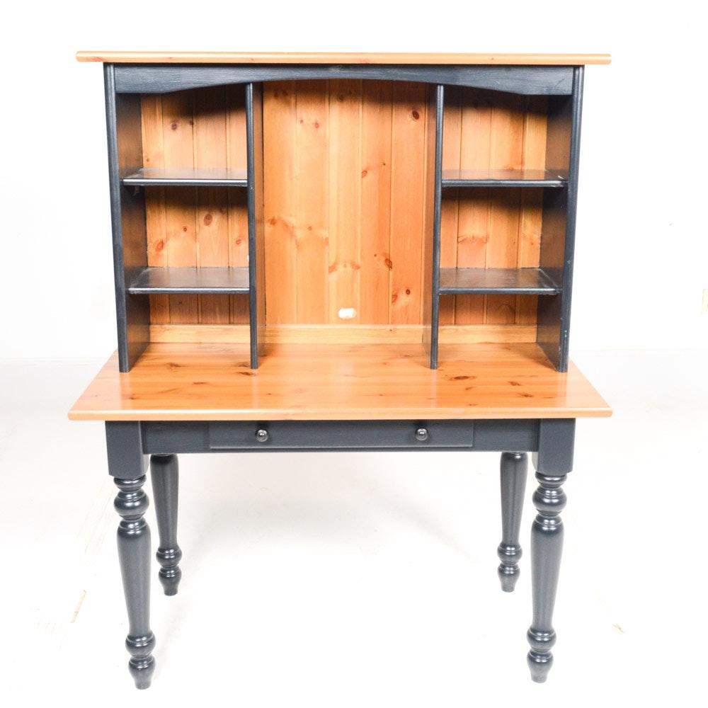 Contemporary Wooden Desk and Hutch