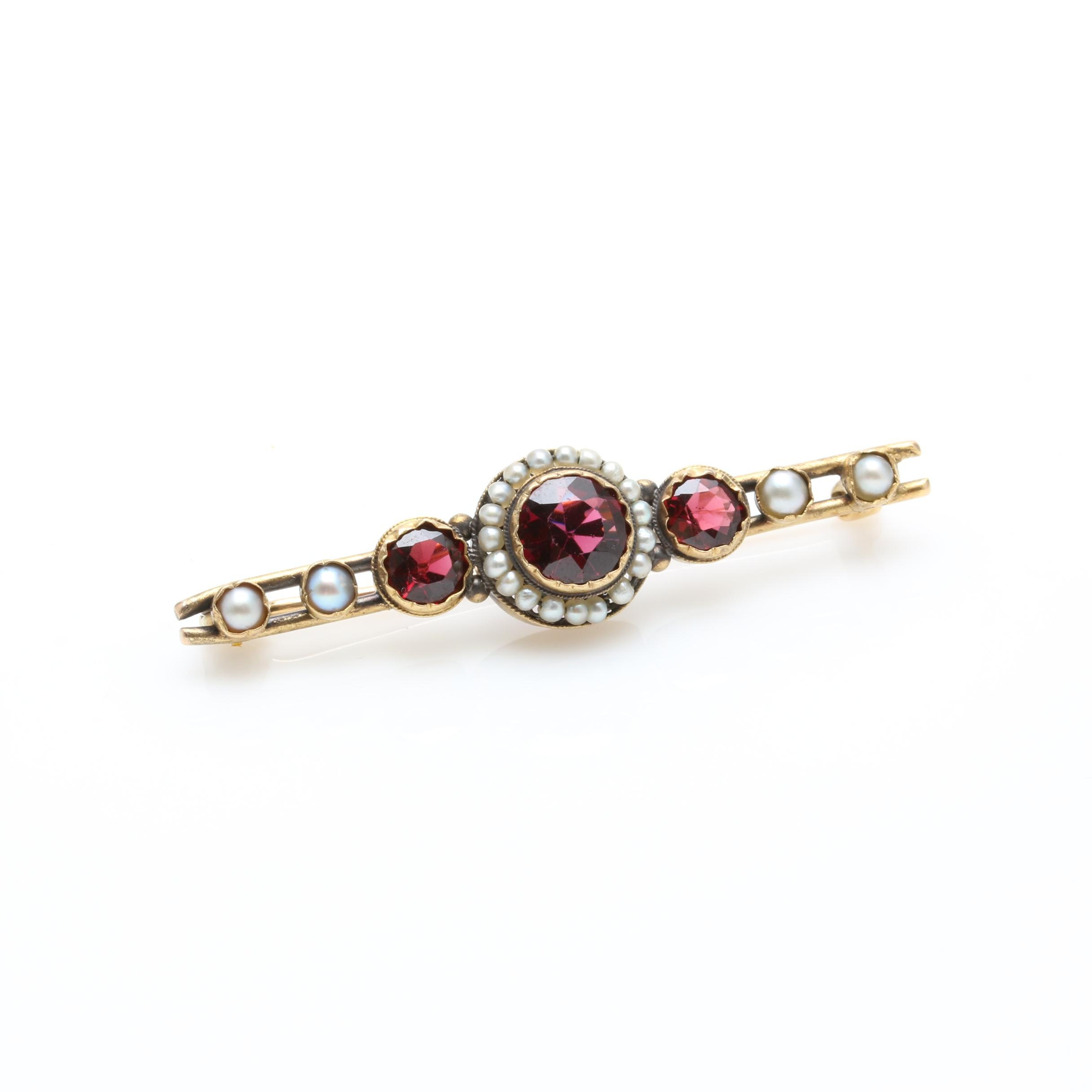 Early 1900s 10K Yellow Gold Garnet and Cultured Pearl Brooch