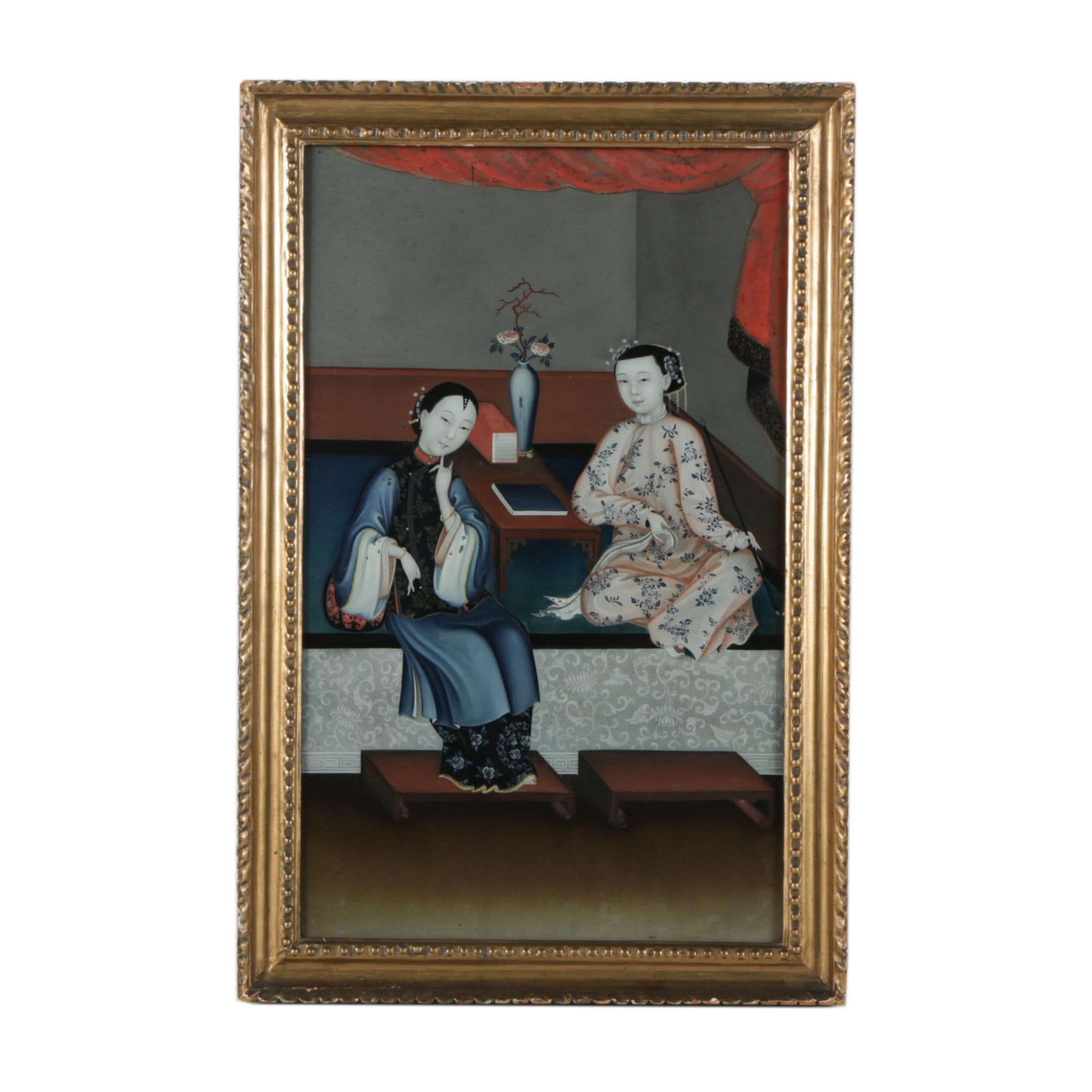Chinese Reverse Glass Painting of Female Figures