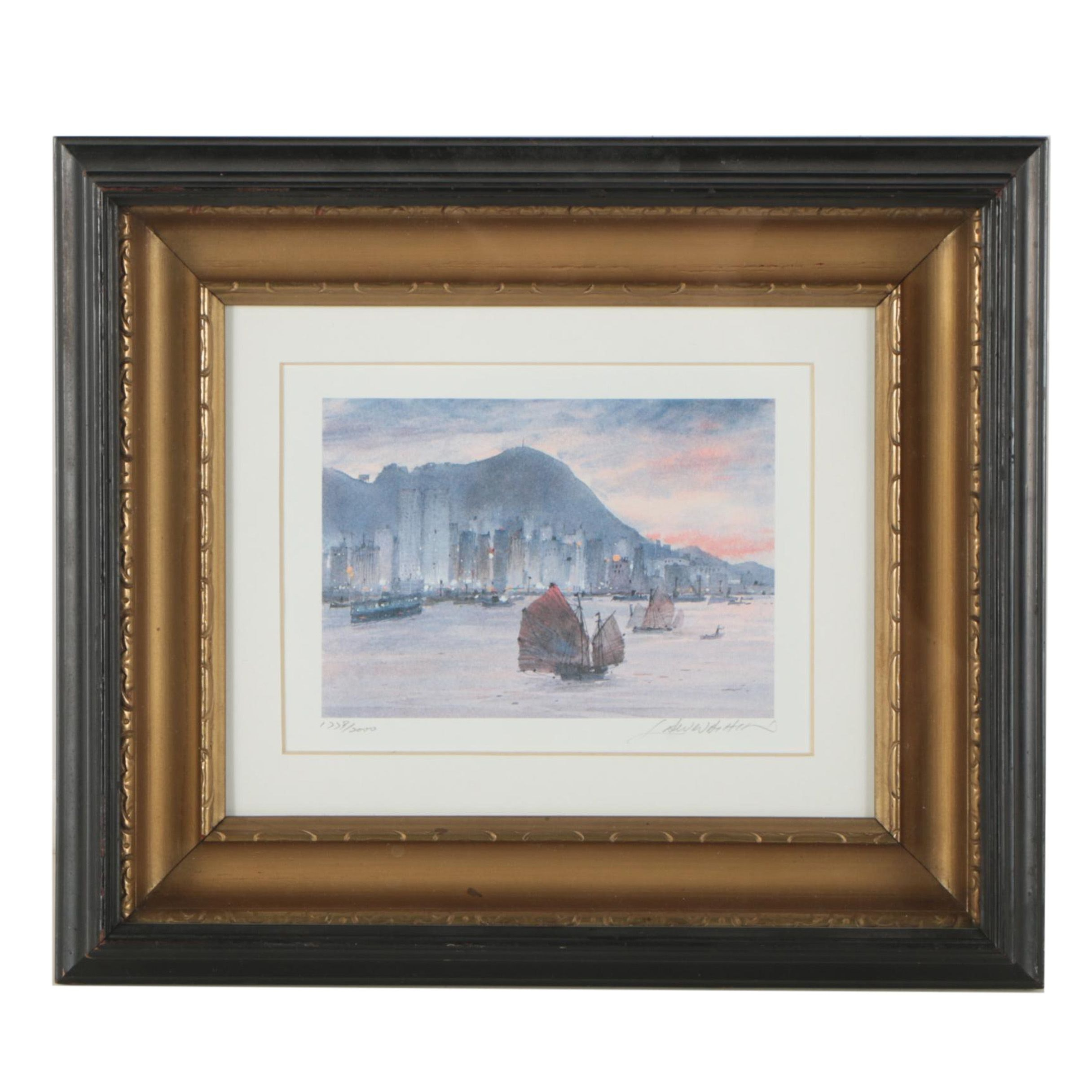 Limited Edition Offset Lithograph Print After Painting of Ships