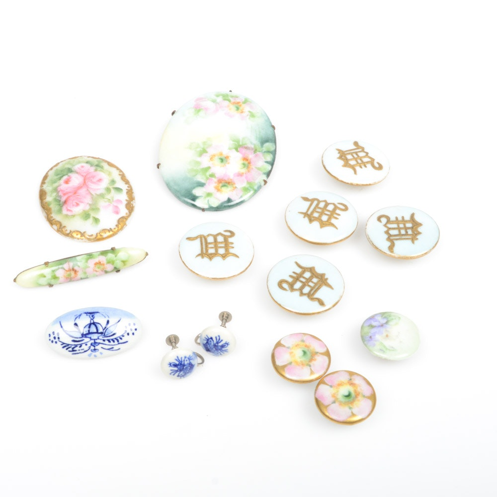 Antique Hand-Painted Porcelain Jewelry and Button Covers