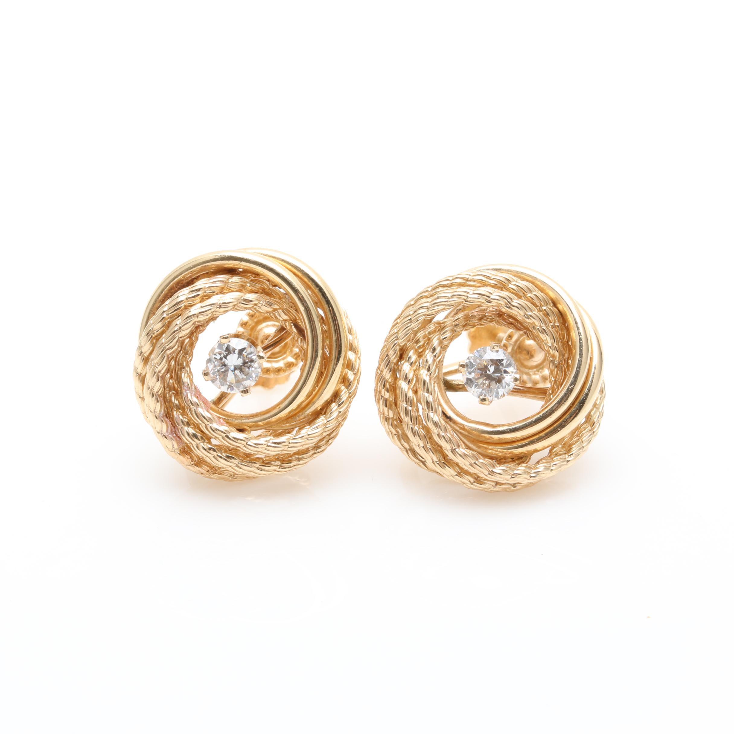14K Yellow Gold Diamond Textured Love Knot Earrings
