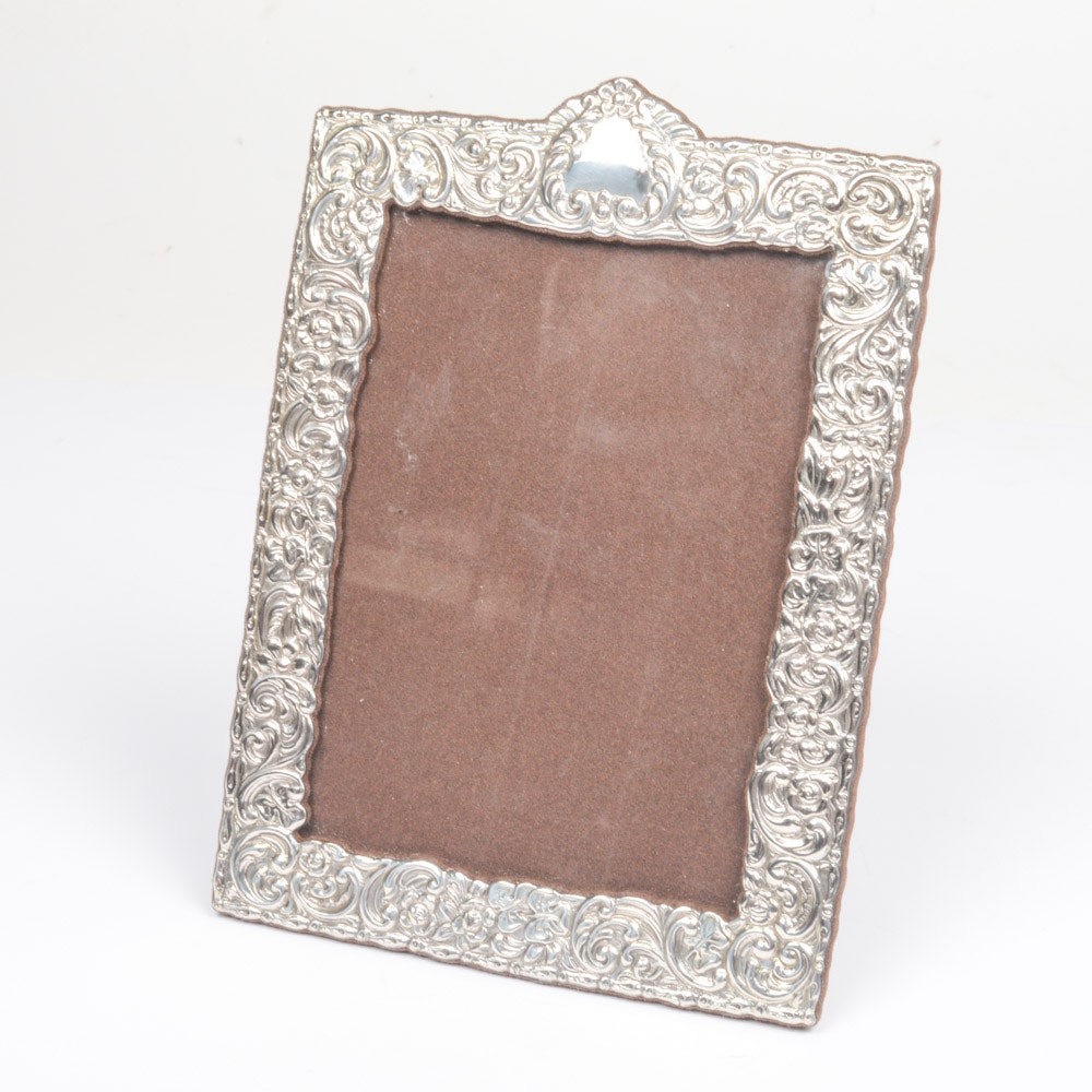 Italian Repoussé Sterling Silver Picture Frame