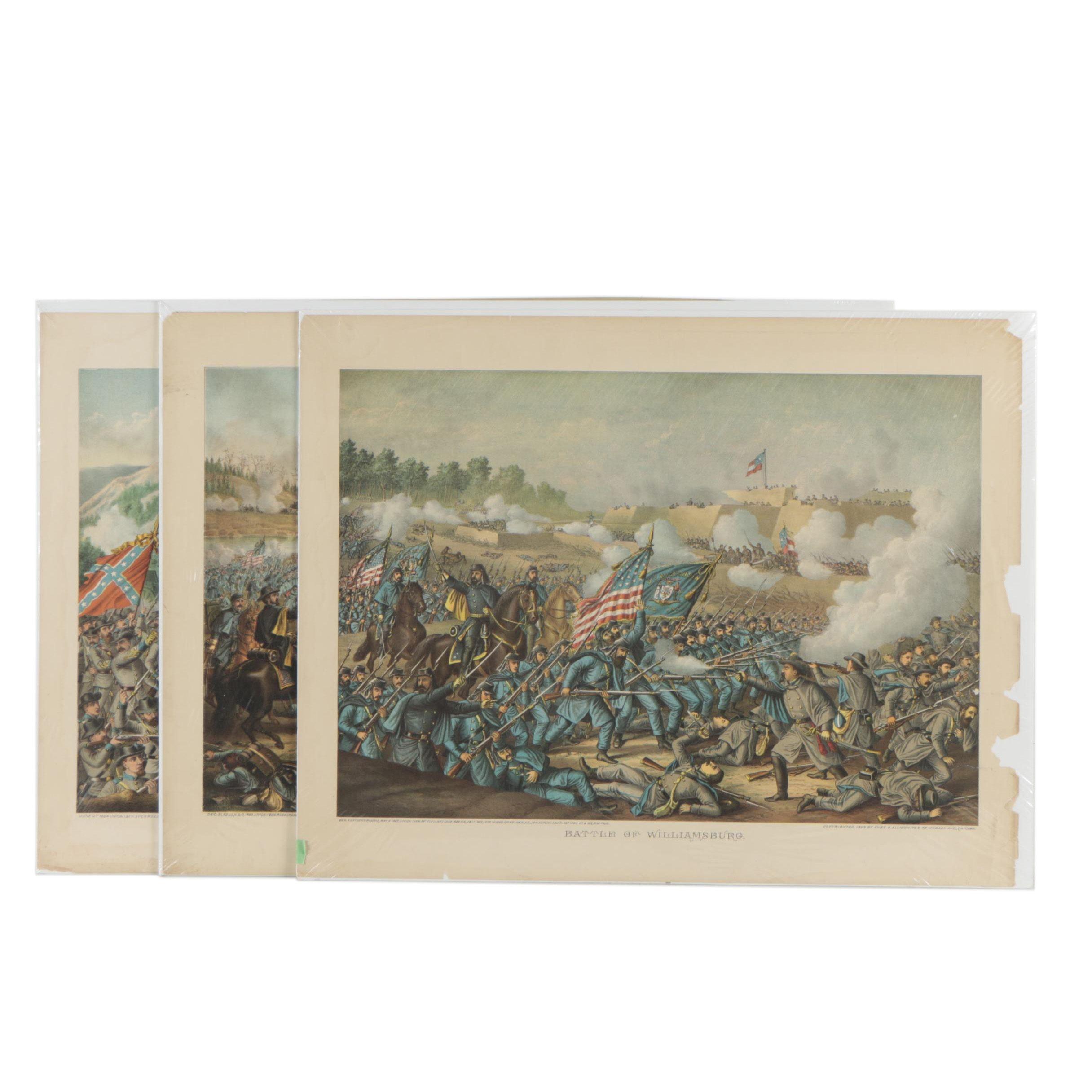 Antique Kurz and Allison Chromolithographs of Civil War Battles