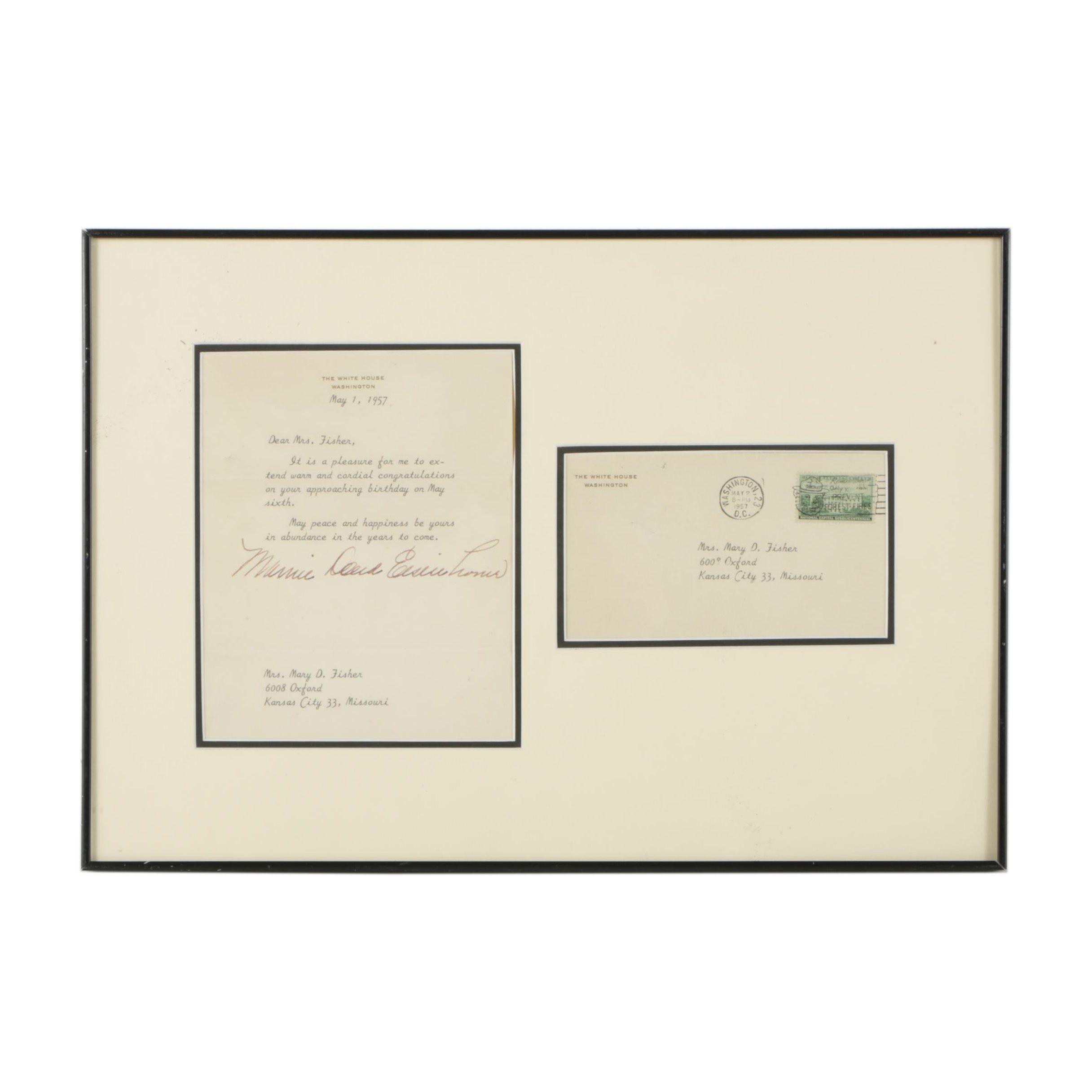 Signed Letter from Mamie Eisenhower in Framed Display