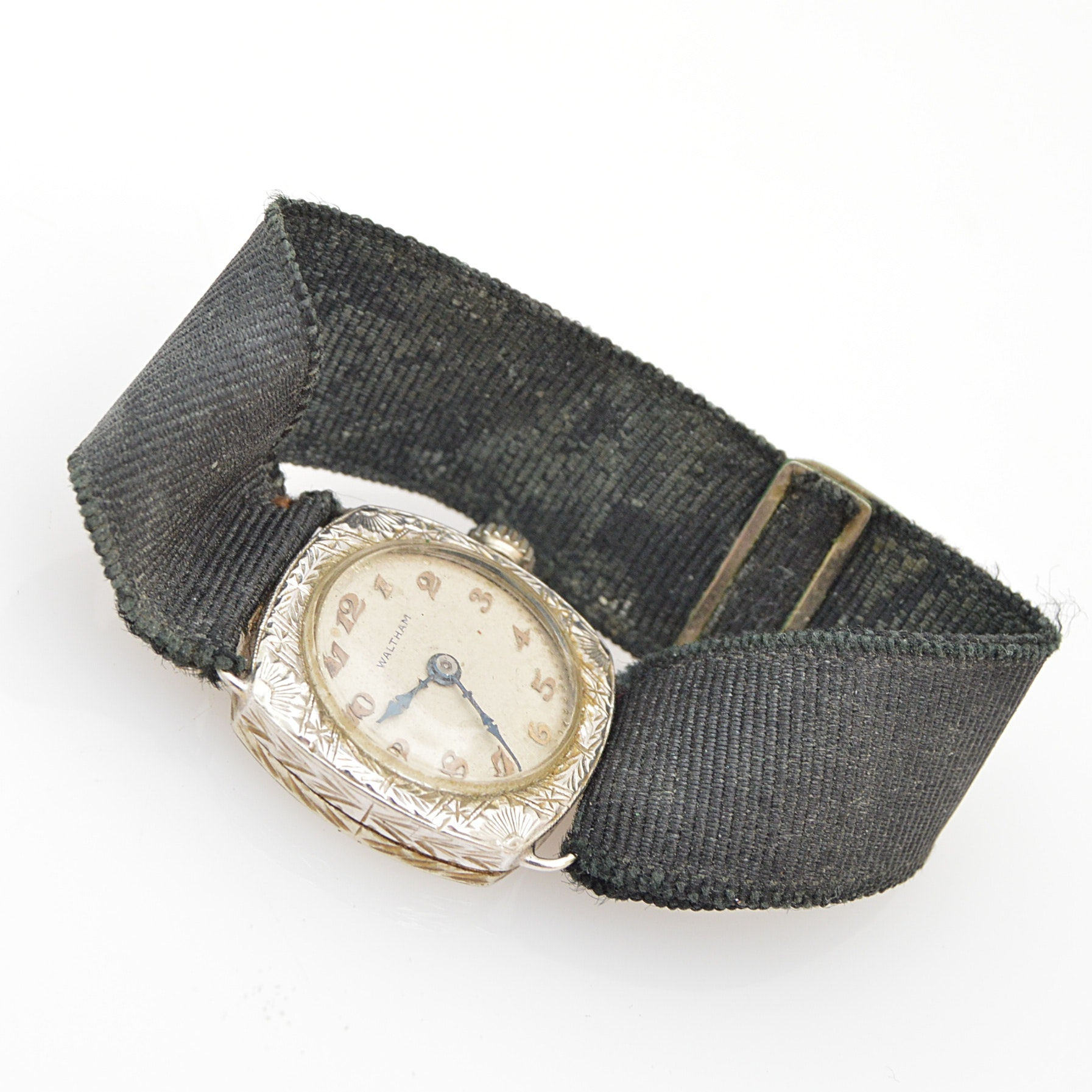 Antique Waltham 14K White Gold Wristwatch with Ribbon Band