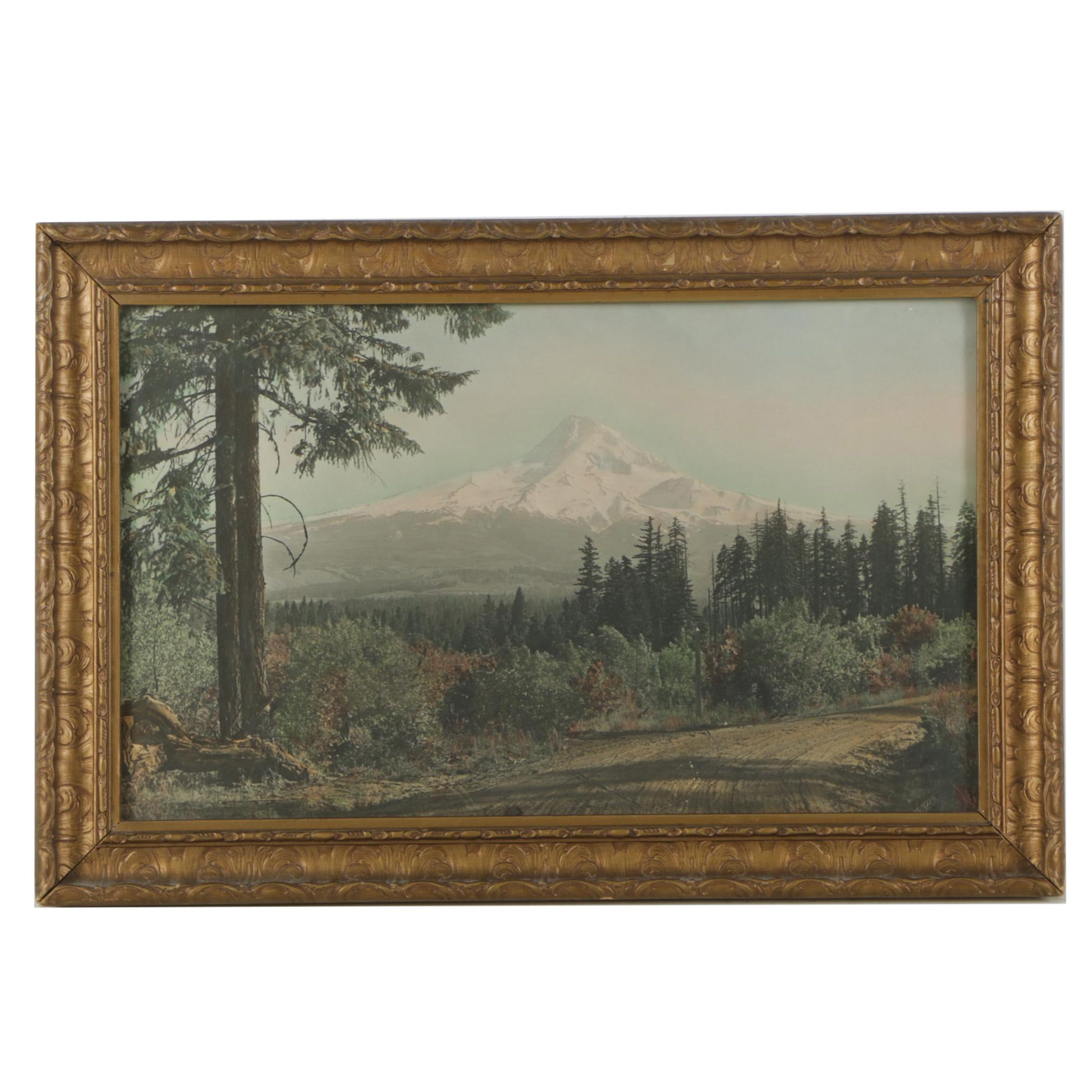 Mid Century Hand Colored Photograph After Thomas of Mountain Landscape
