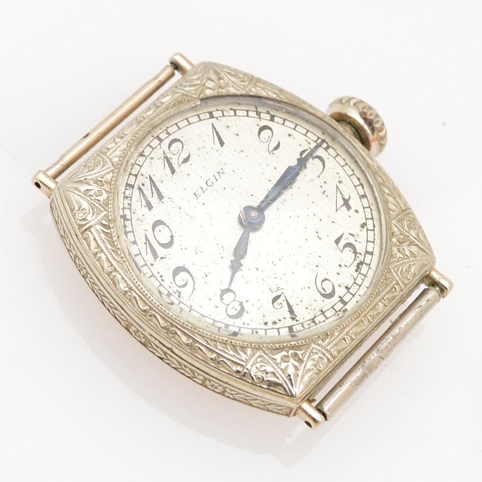 Art Deco Elgin 14K White Gold Wristwatch