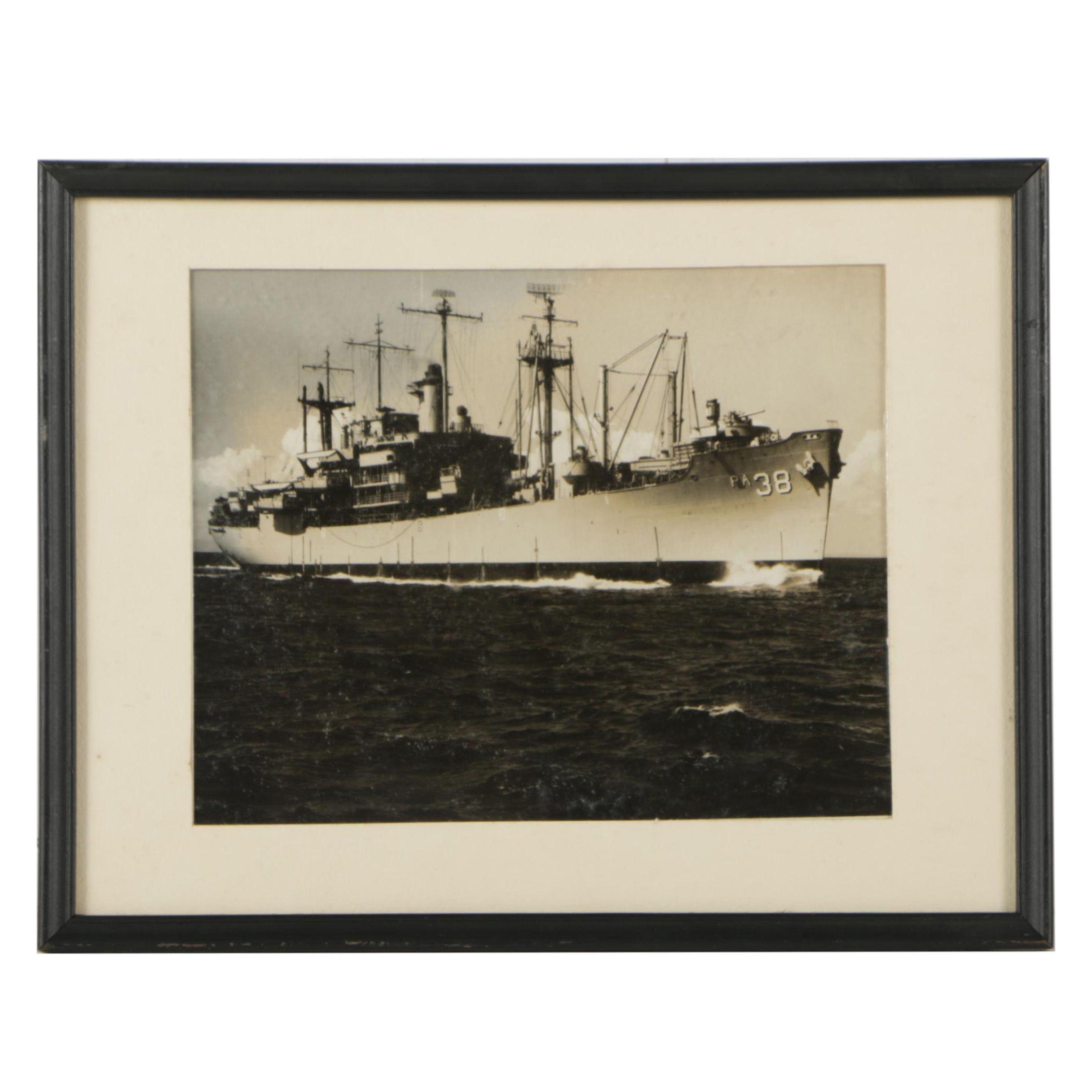 Vintage Black & White Photograph of USS Chilton (APA-38)