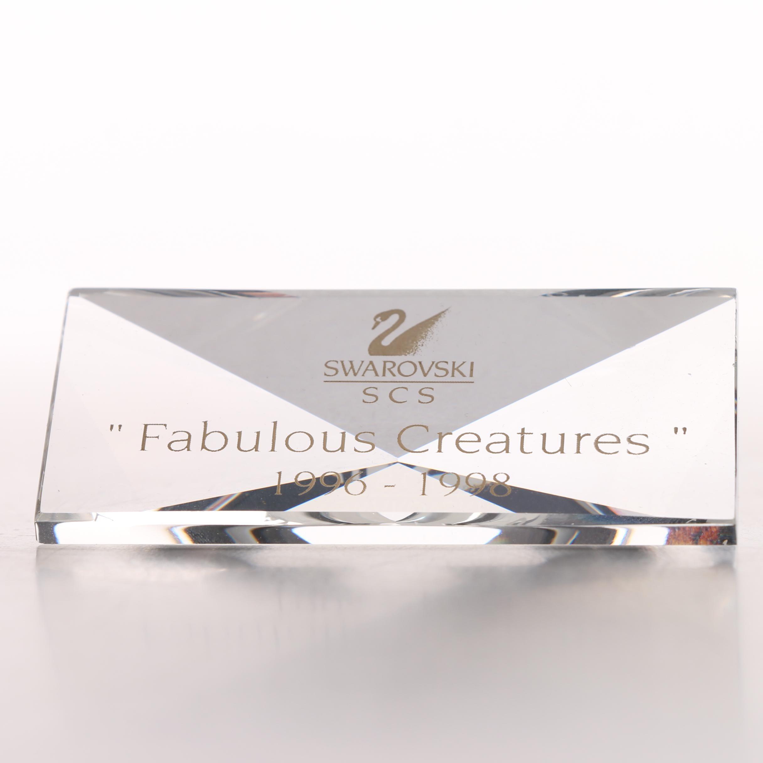 "Swarovski Crystal Society ""Fabulous Creatures"" Plaque"