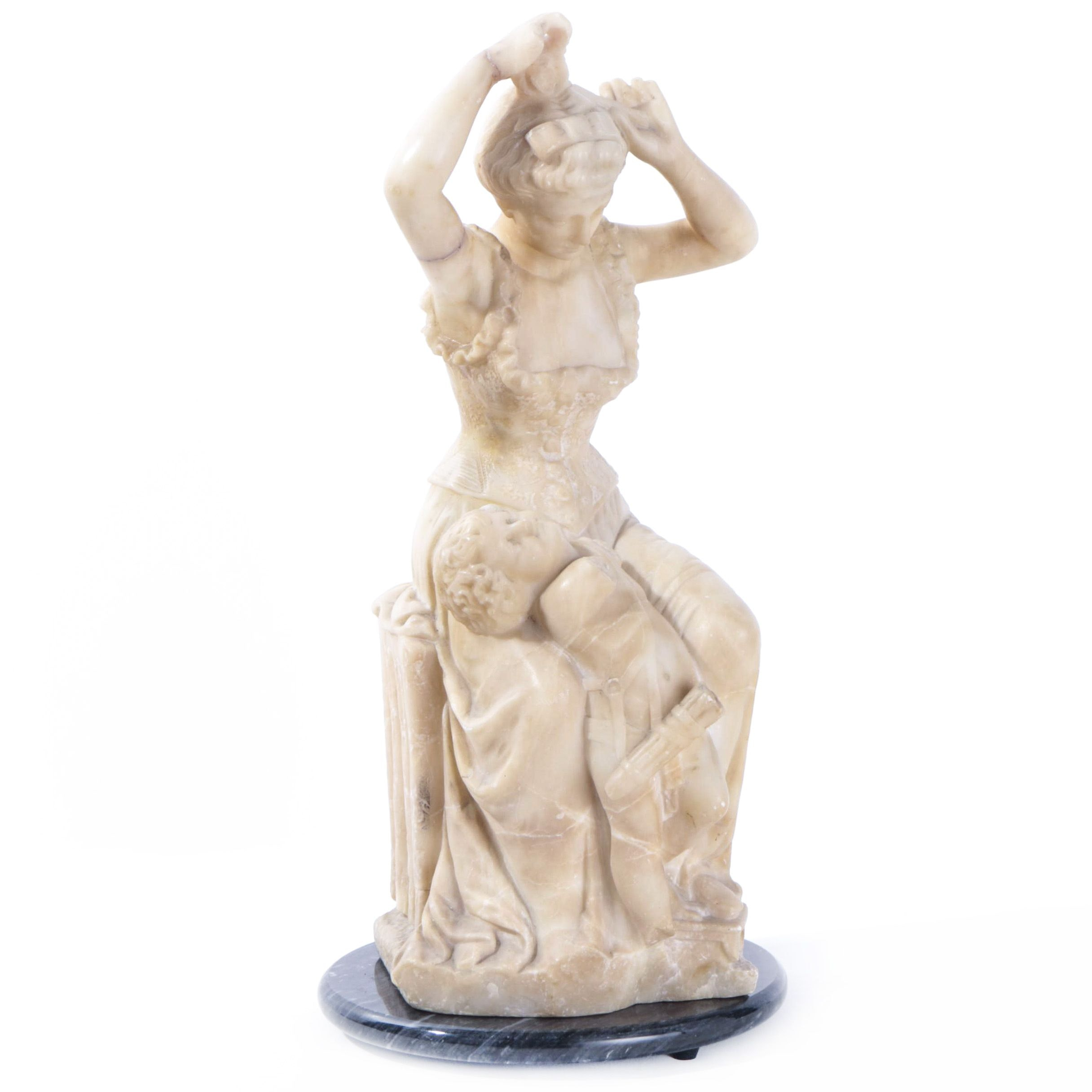 Late 20th-Century Alabaster Sculpture of Woman and Cupid