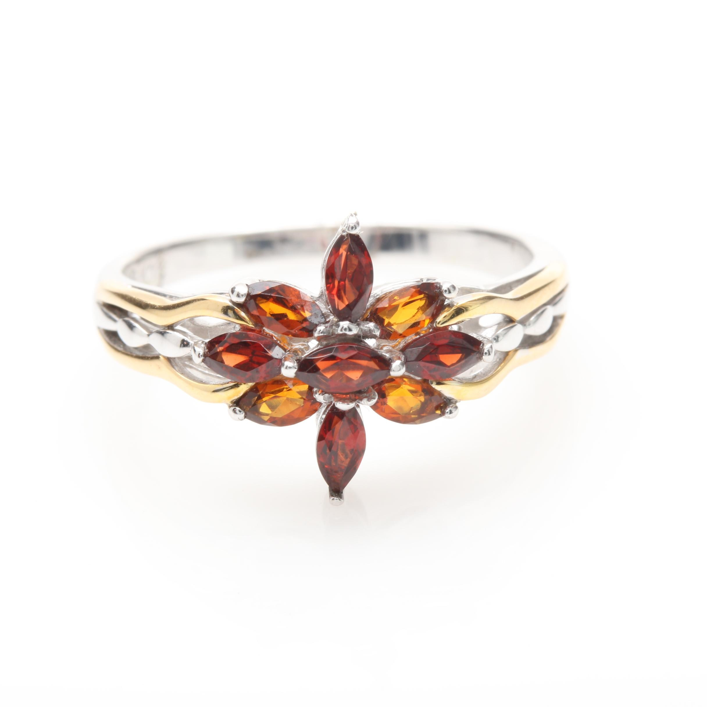 18K White Gold Garnet Floral Ring with Yellow Gold Accents