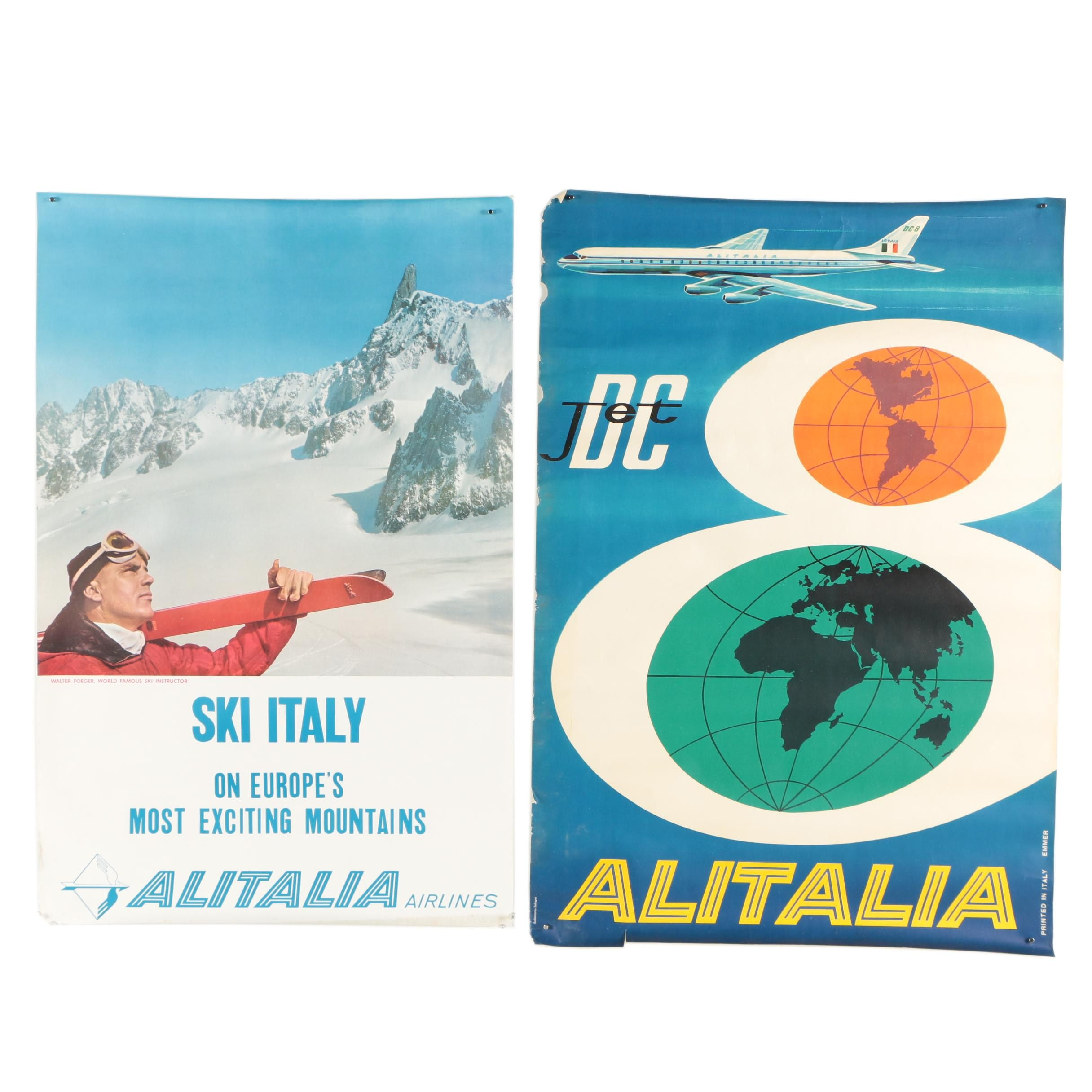 "Vintage Offset Lithograph Airline Travel Posters ""Alitalia Airlines"""