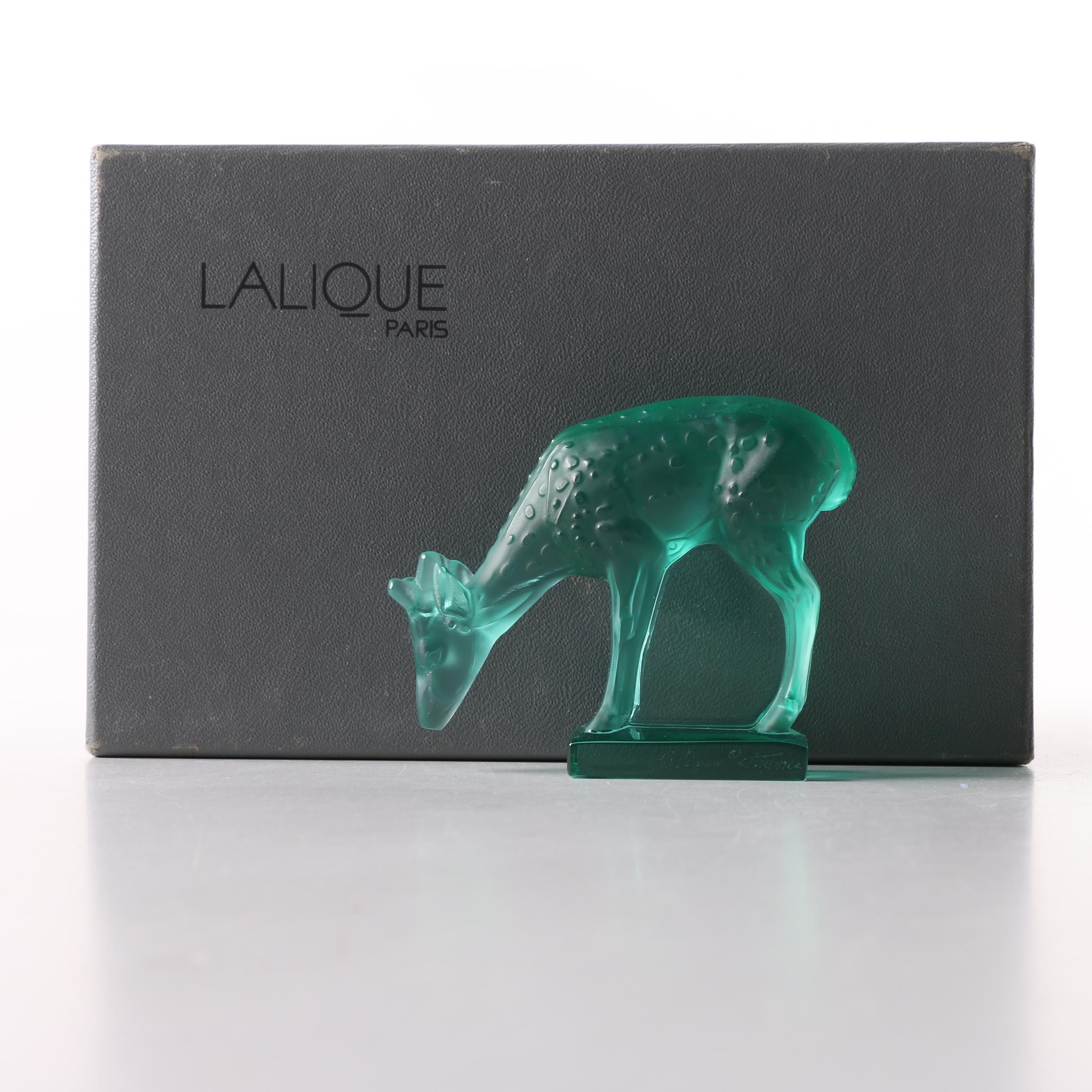 "Lalique Green Crystal ""Fawn"" Figurine"