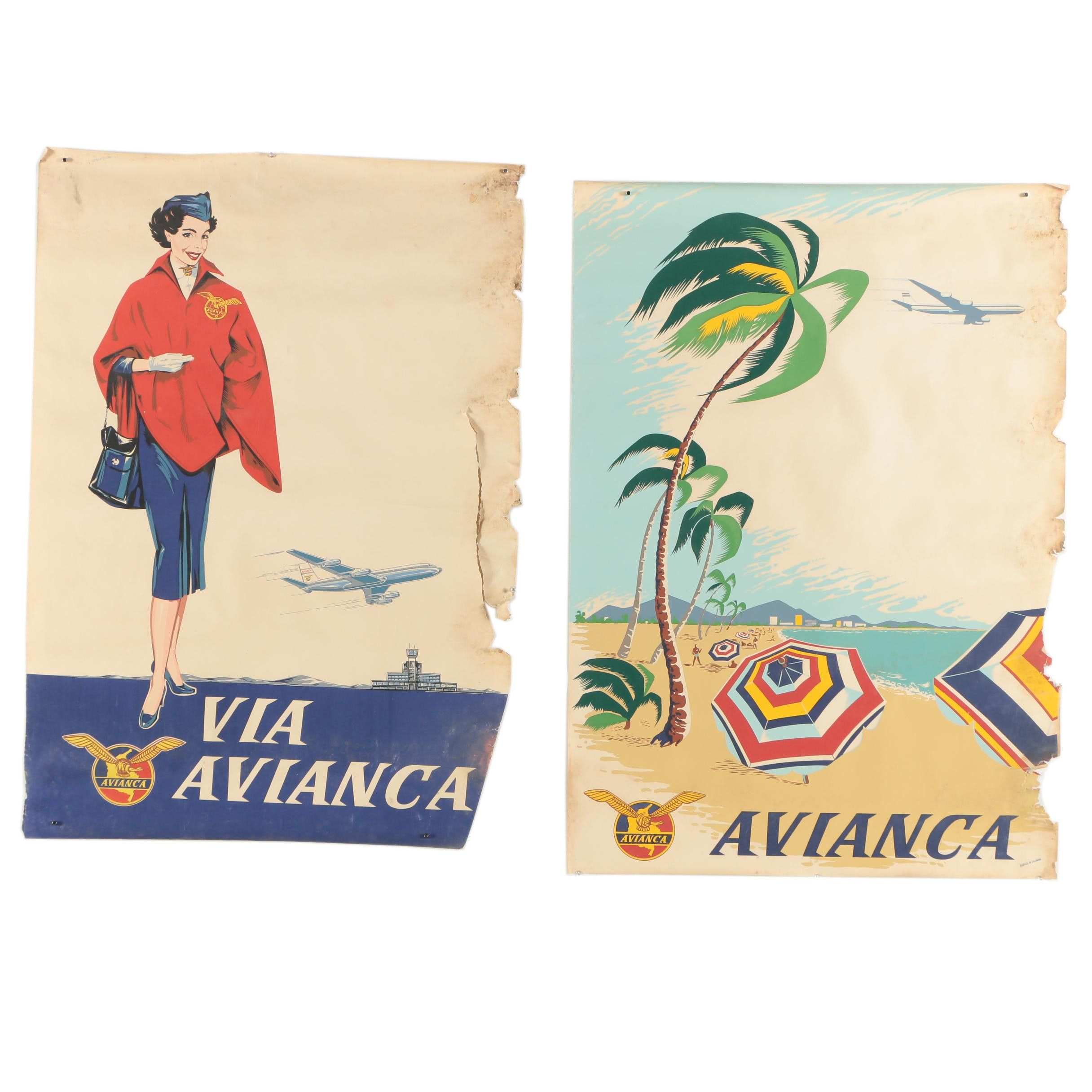 """Vintage Serigraph Airline Travel Posters """"Avianca"""""""