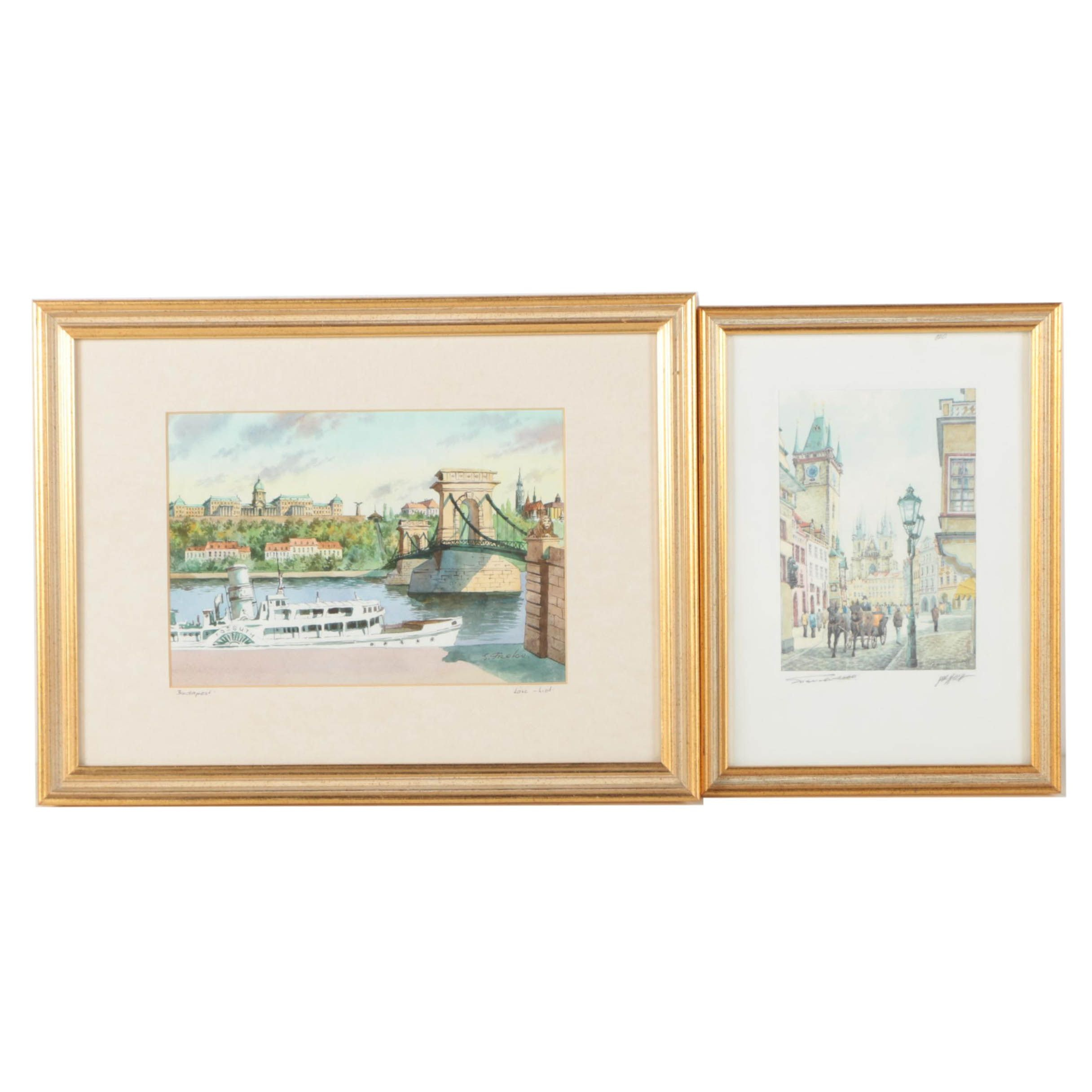 "Two Watercolor Paintings ""Prague"" and ""Budapest"""