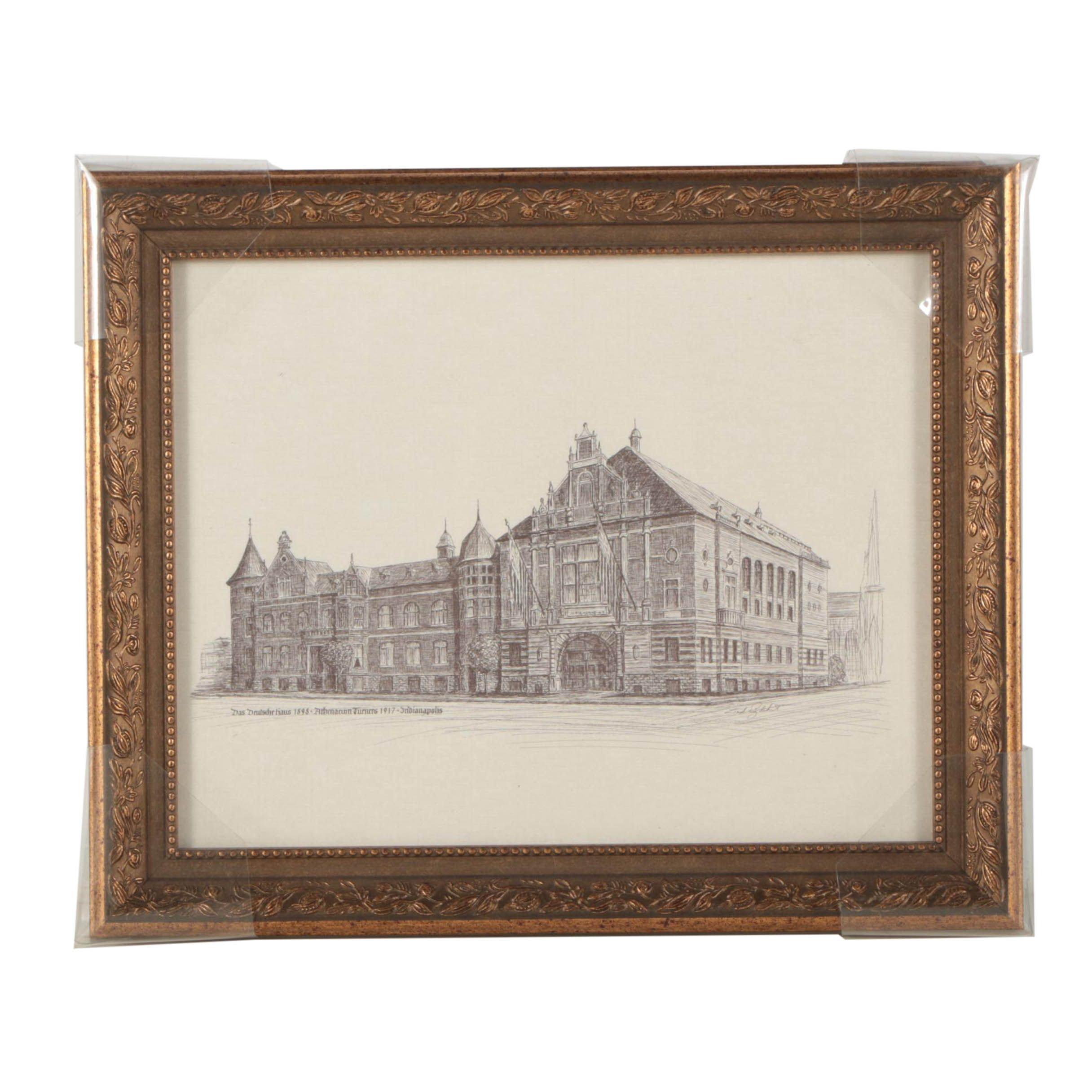 "Lithograph Print After Ted Englehart Drawing ""Das Deutsche Haus 1898"""