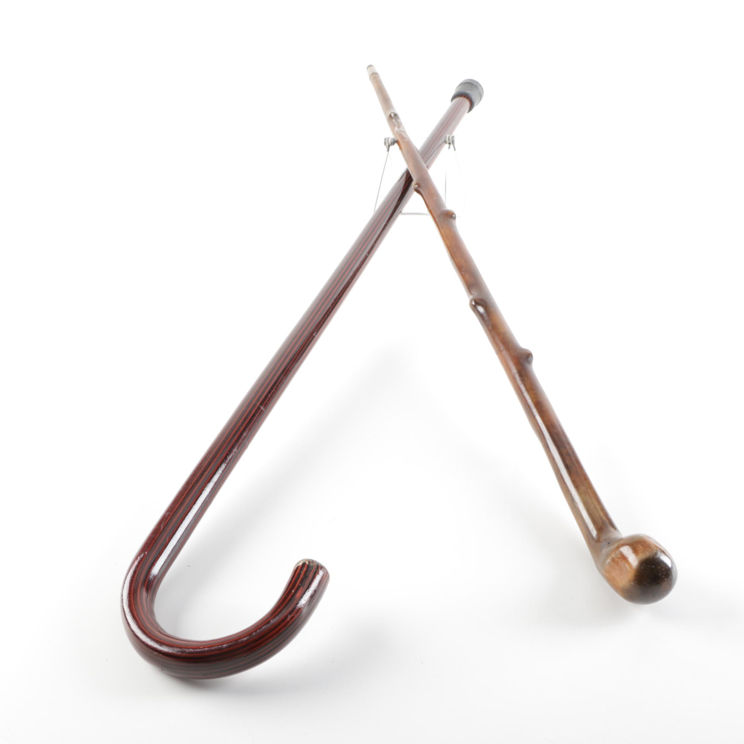 Wooden Crook Handle Cane and Walking Stick