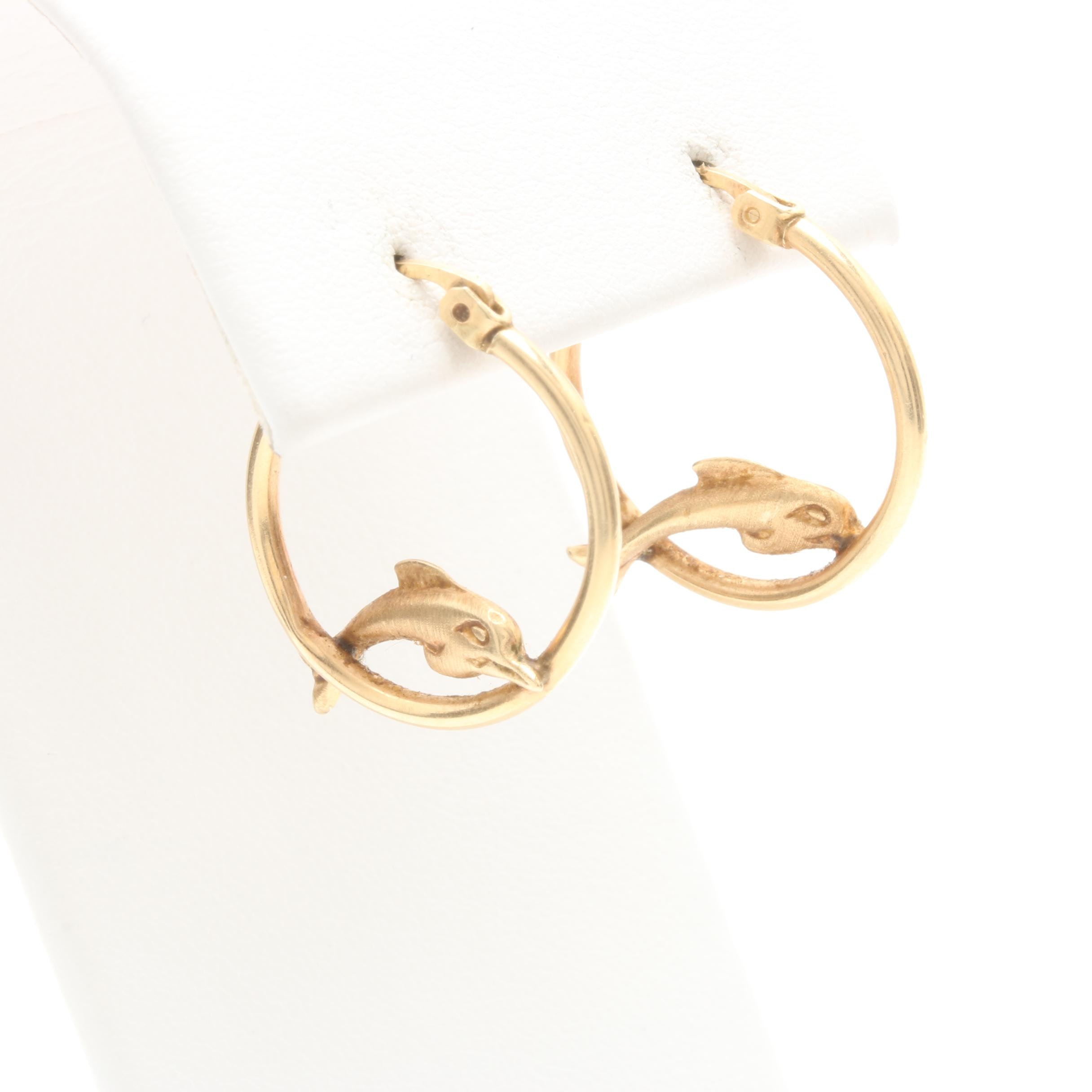 14K Yellow Gold Dolphin Motif Hoop Earrings