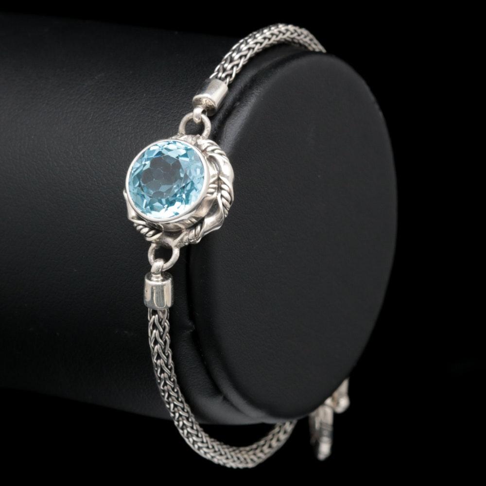 Sterling Silver and Blue Topaz Bracelet