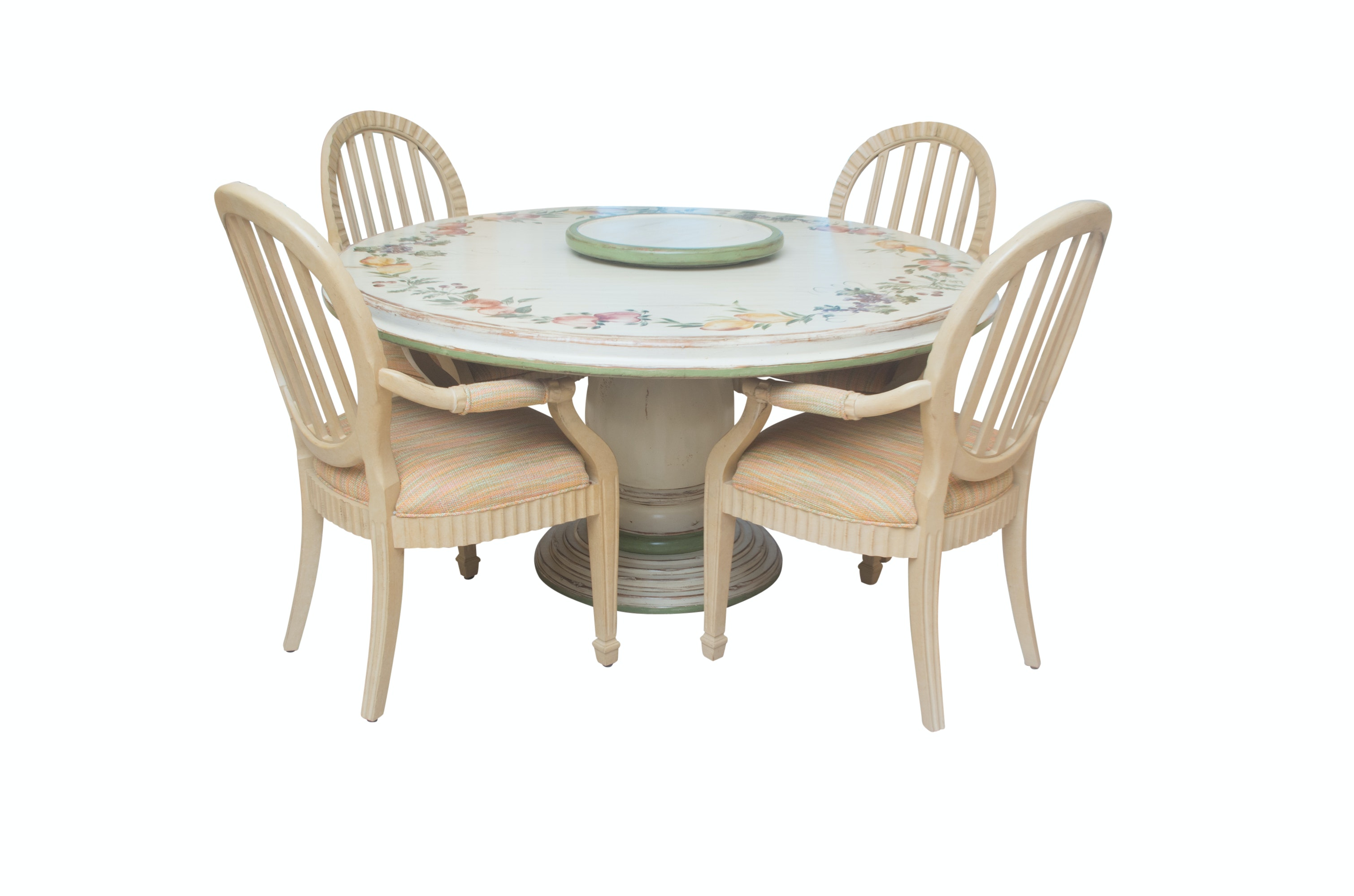Decorative Painted Pedestal Dining Table With Four Chairs ...