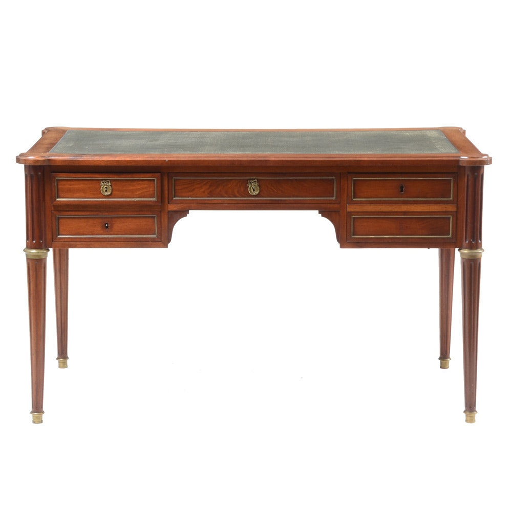 Vintage Neoclassical Style Mahogany Leather Top Desk