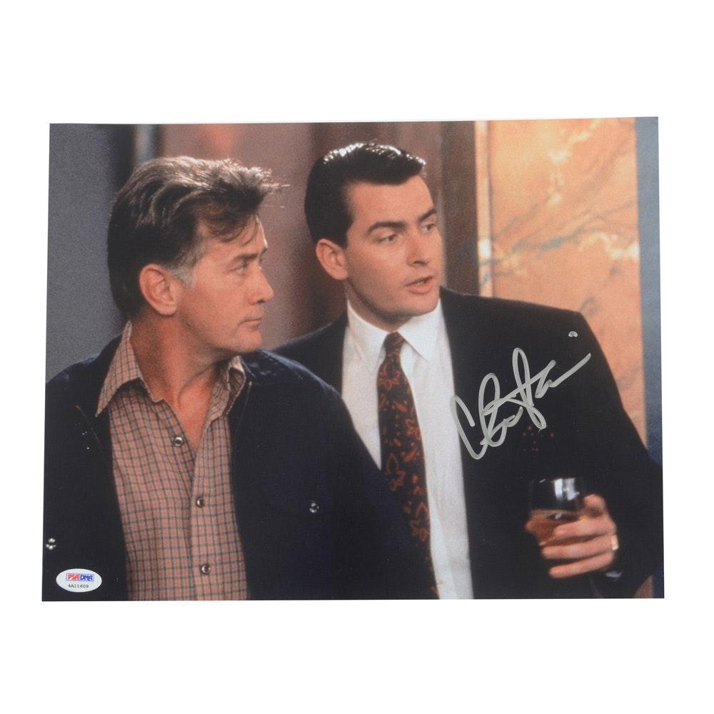 Actor Charlie Sheen Signed Movie Photo Print PSA COA