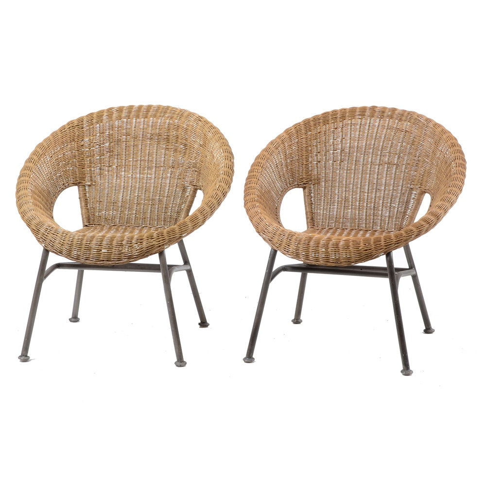 Pair of Contemporary Wicker Side Chairs