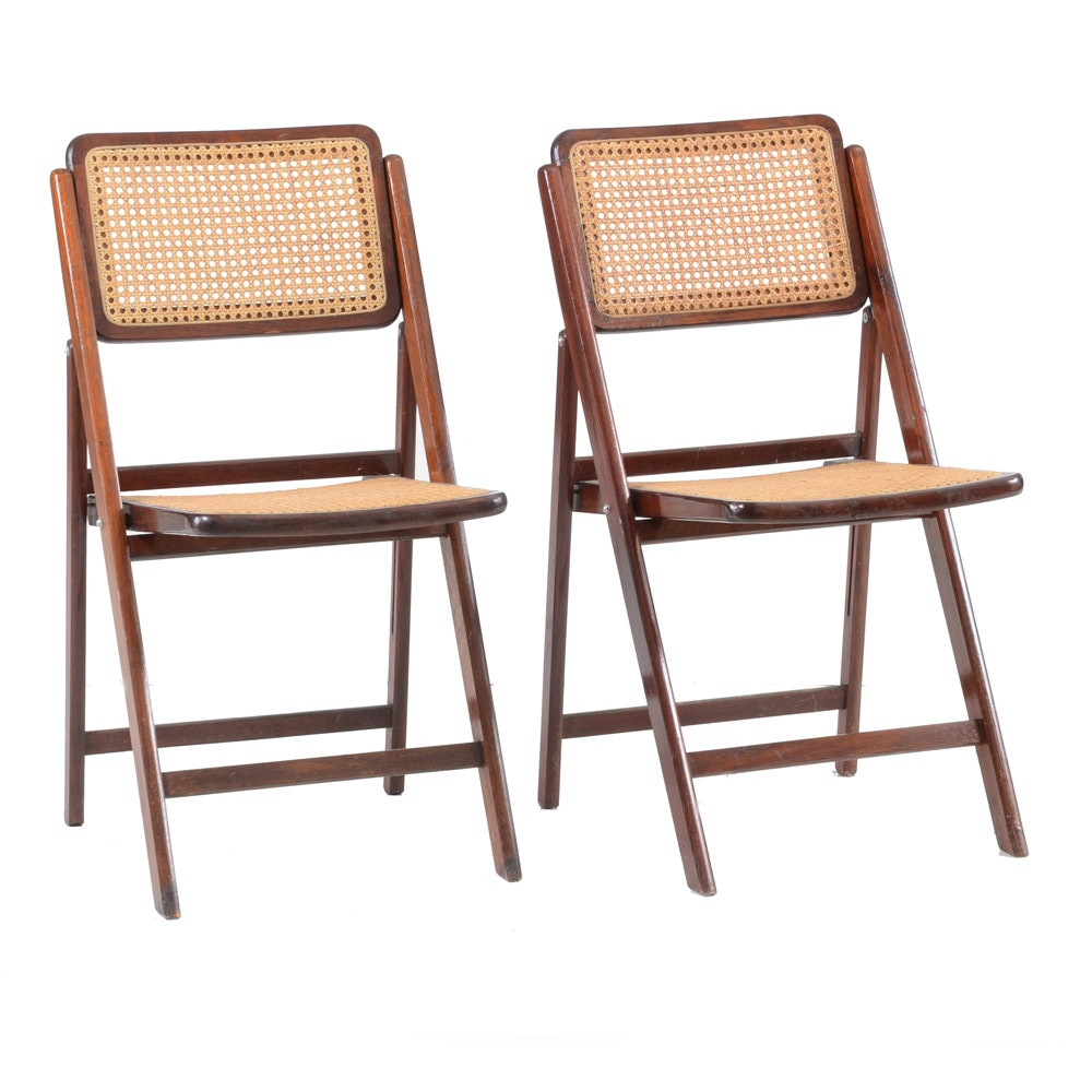 Pair Of Cane Seat Folding Chairs ...