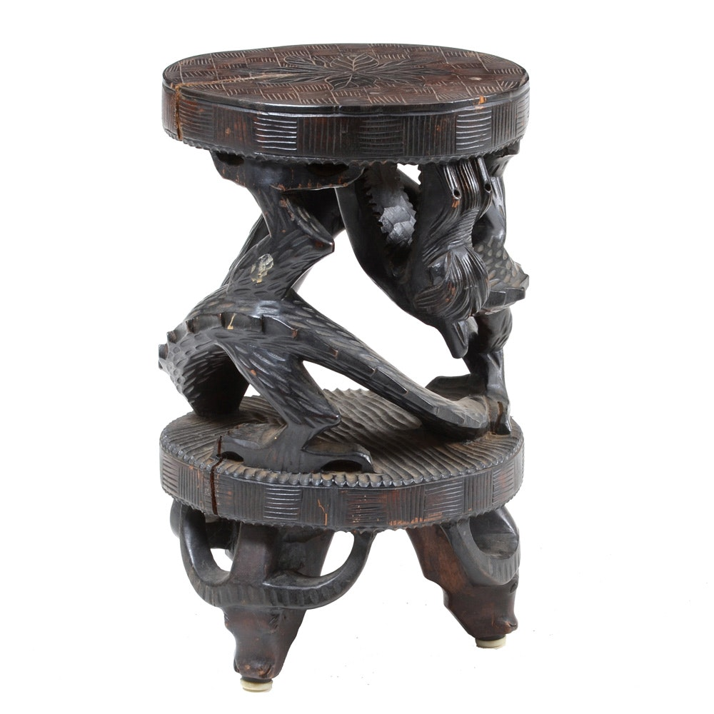 Chinese Carved Dragon Plant Stand