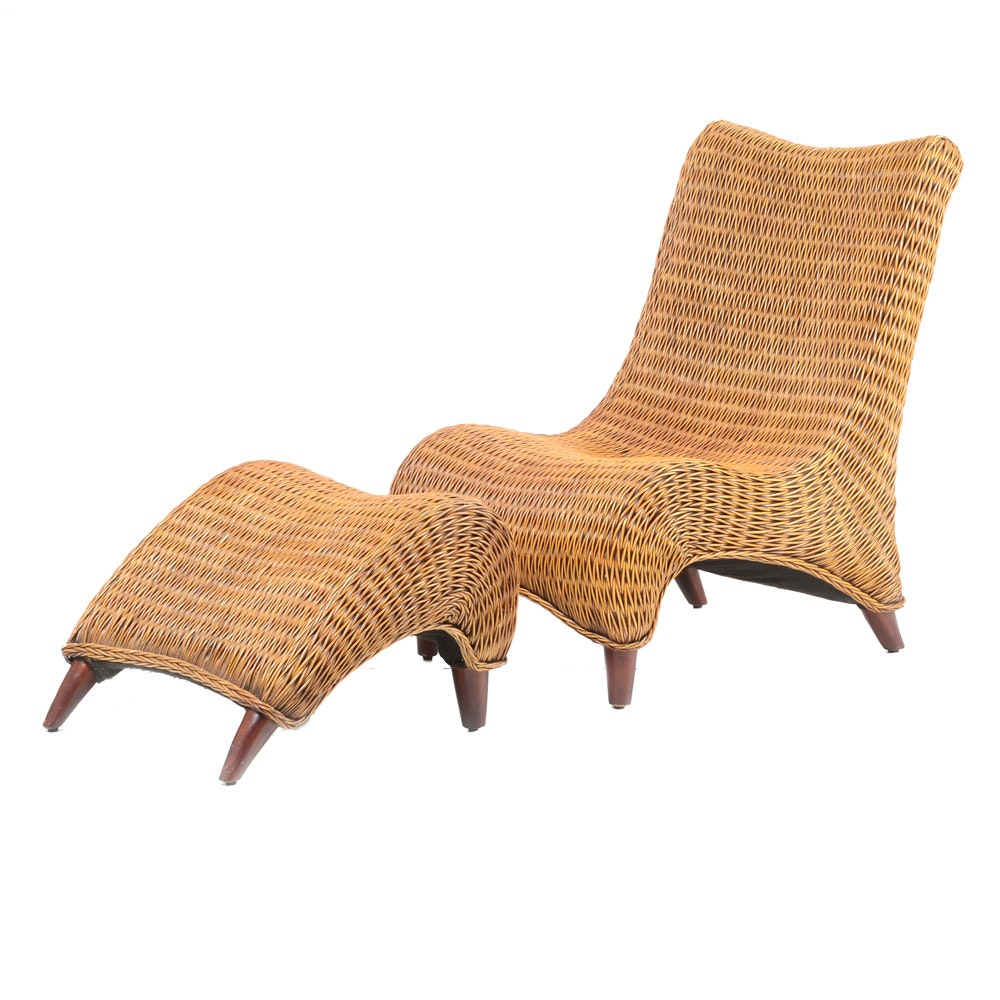 Contemporary Wicker Chair with Ottoman