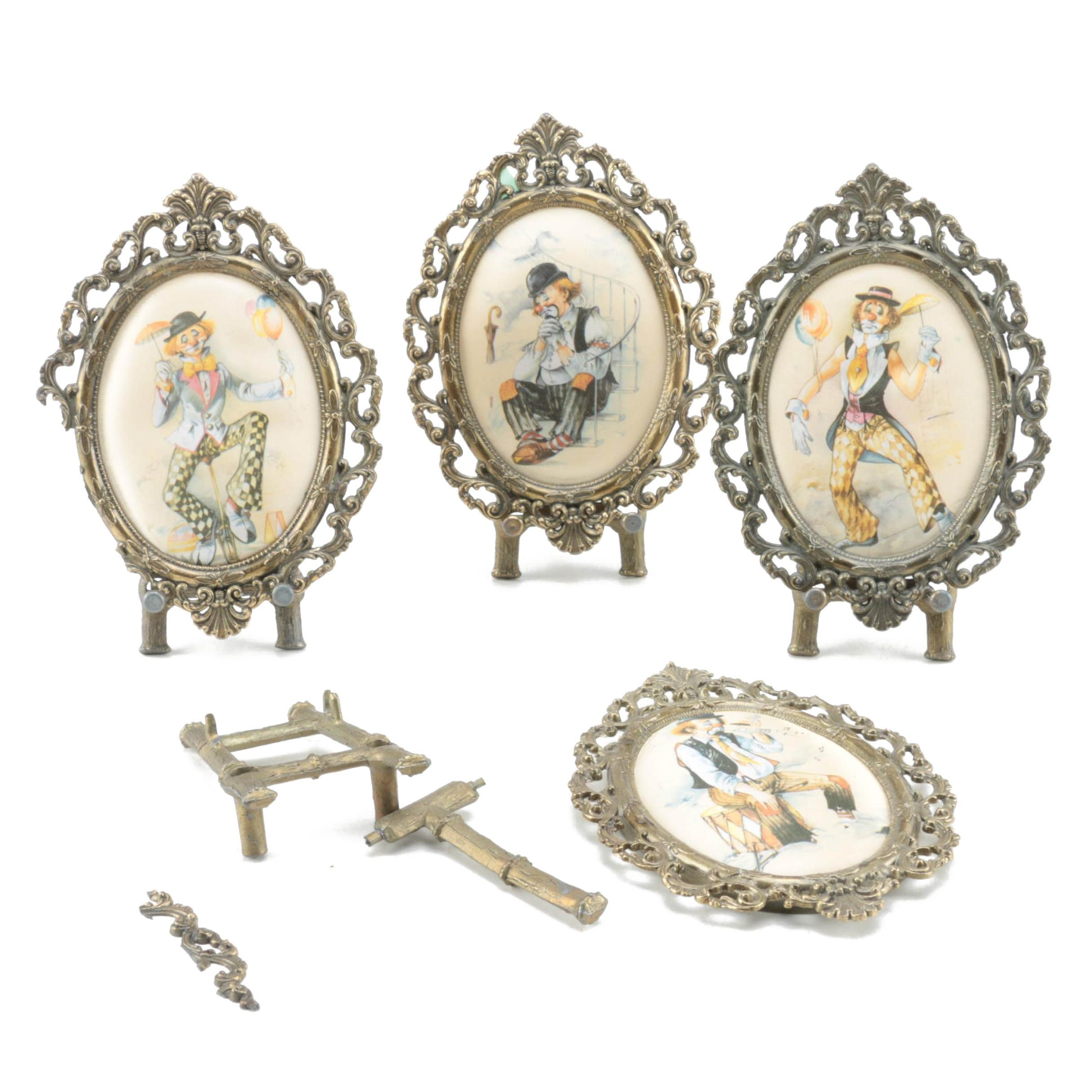 Brass Table Frames with Clown Prints