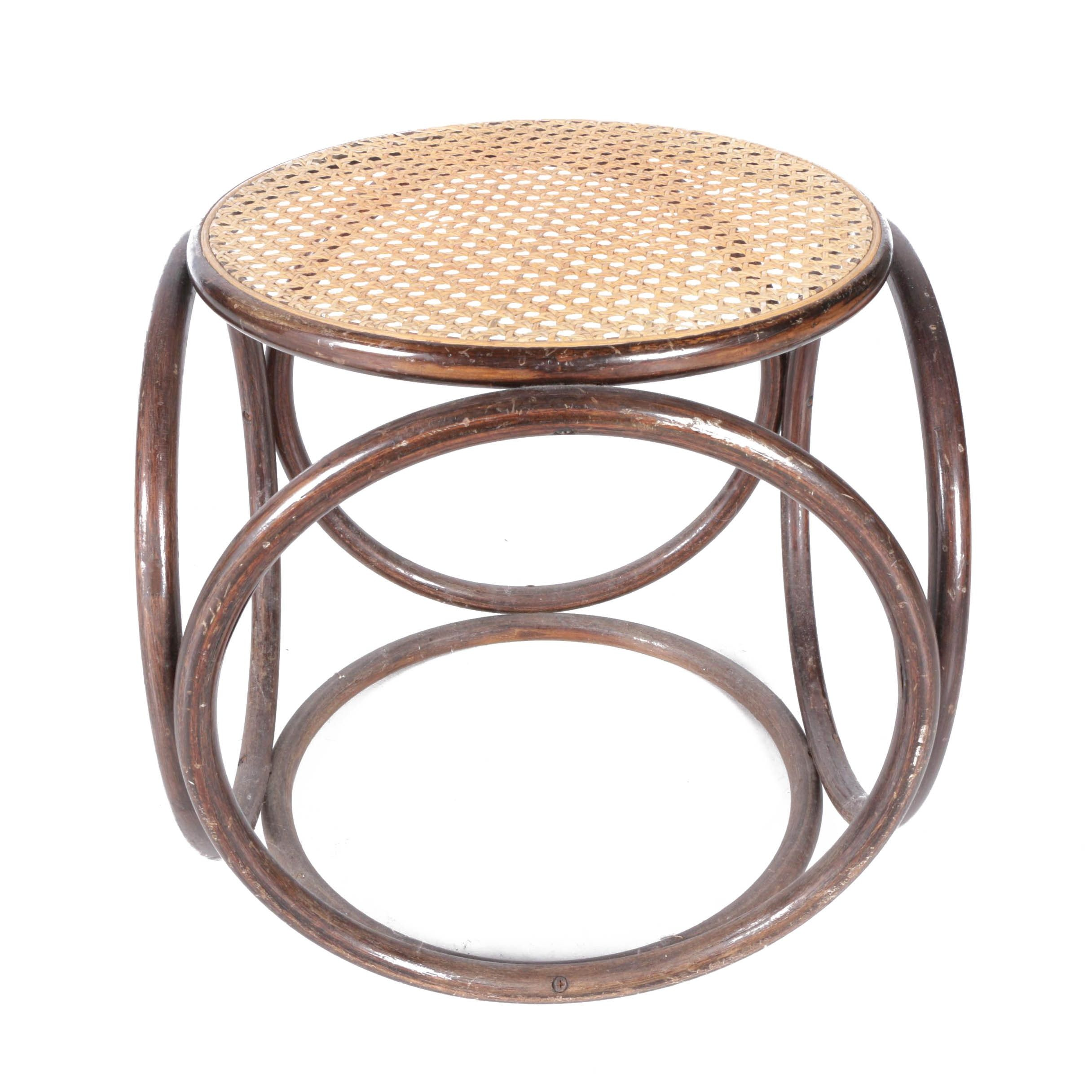 Mid-Century Thonet Style Bentwood and Cane Stool