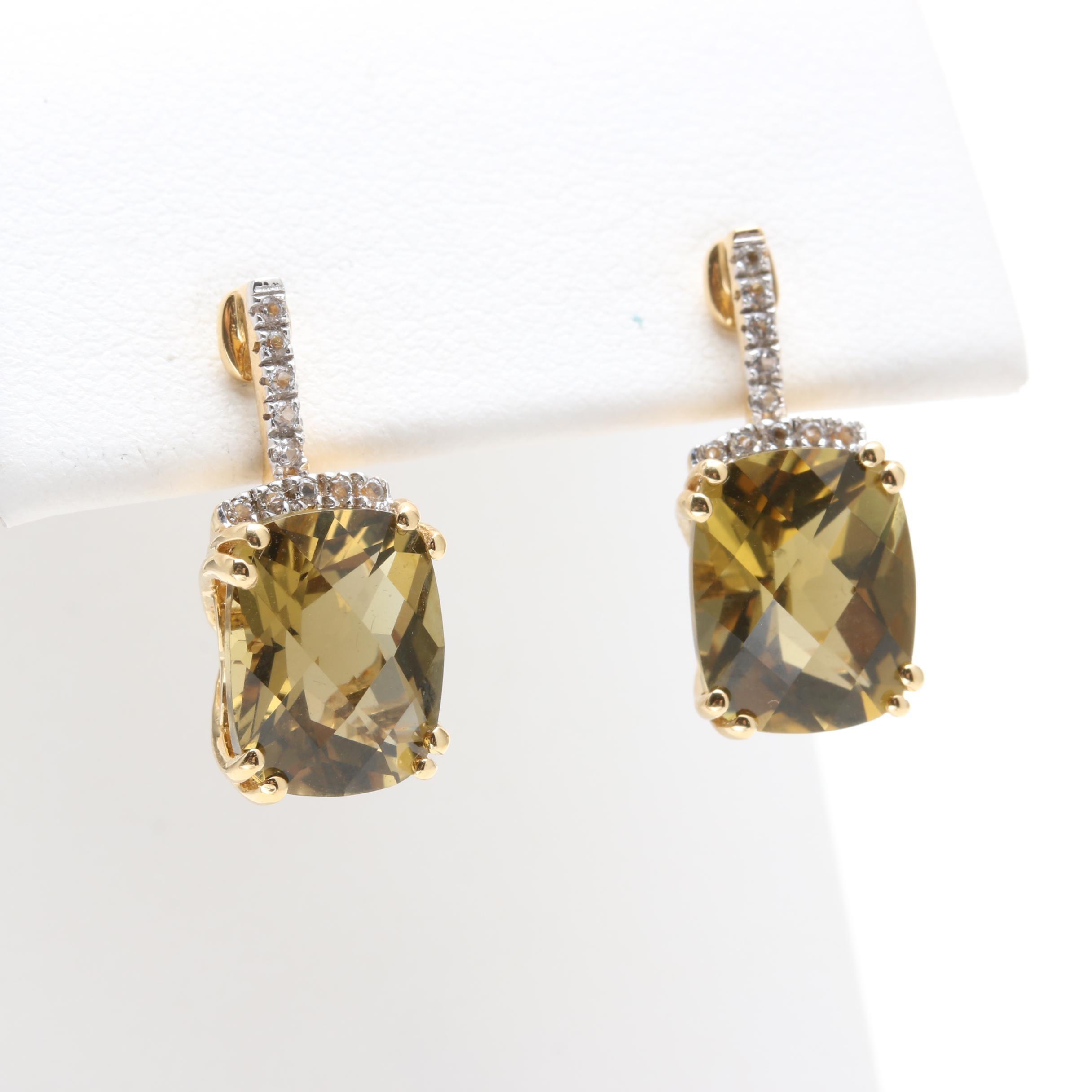 18K Yellow Gold Lemon Citrine and White Topaz Drop Earrings