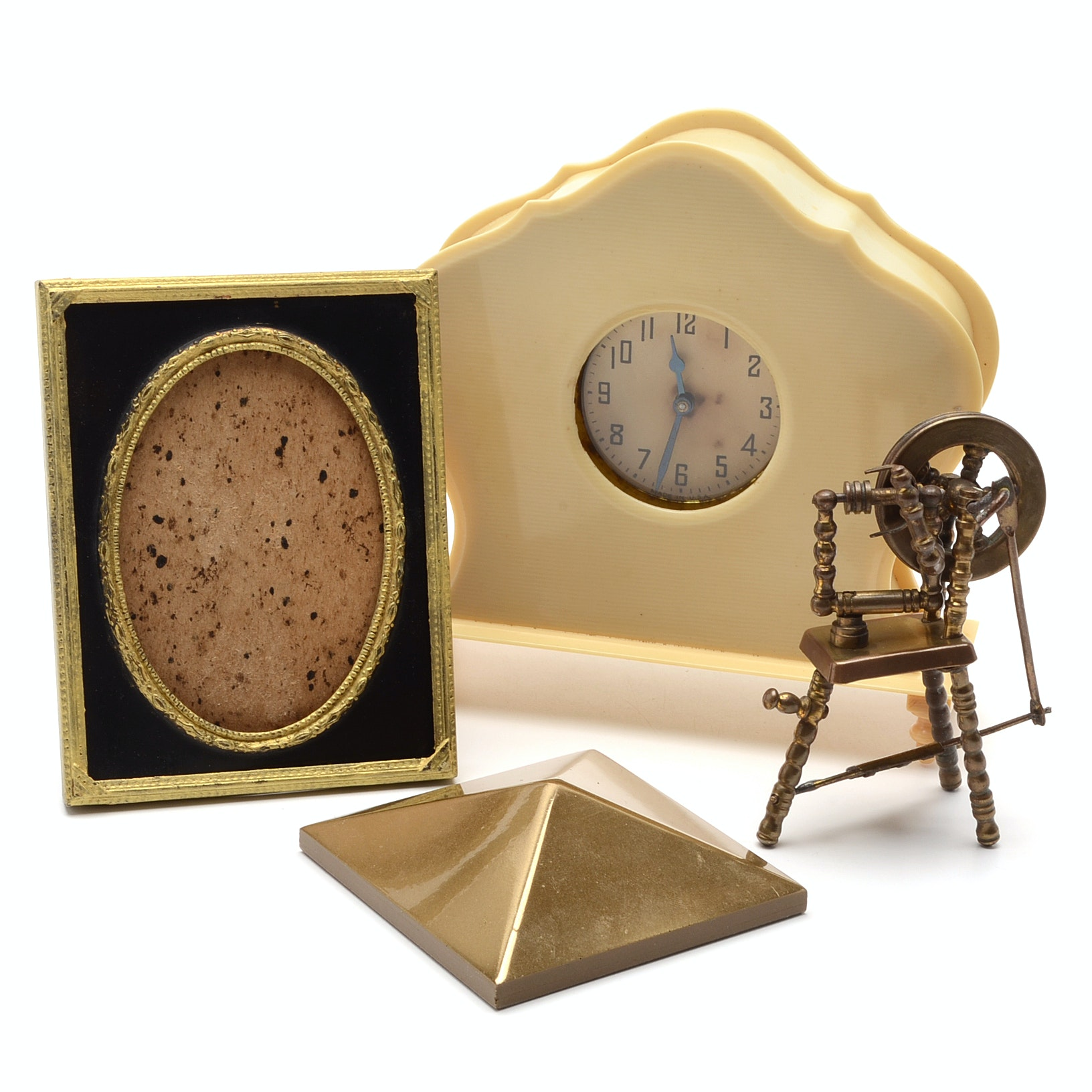 Vintage Celluloid Clock And Array of Decorative Items