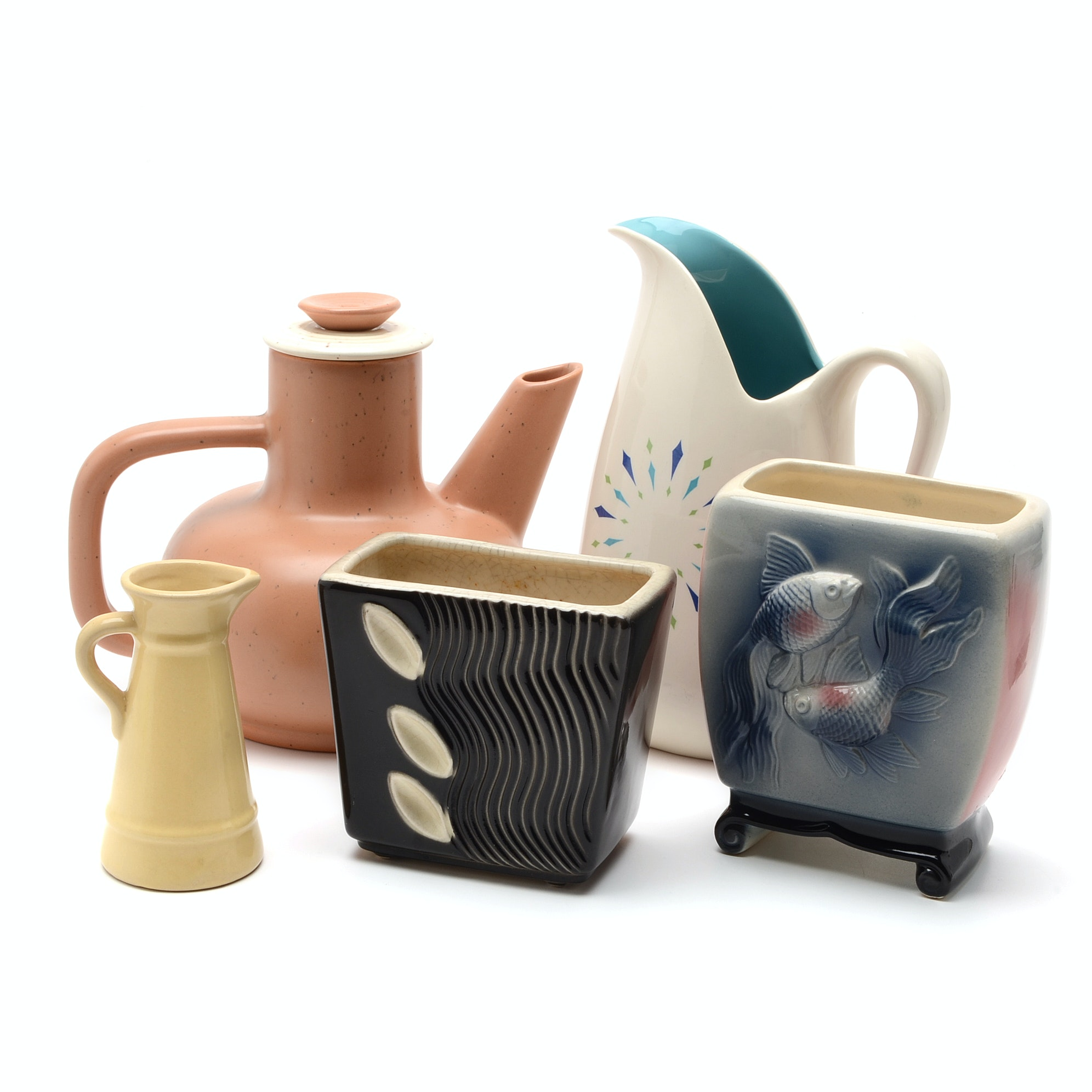 Assortment of Mid Century Modern Pitchers, Teapot, and Vases