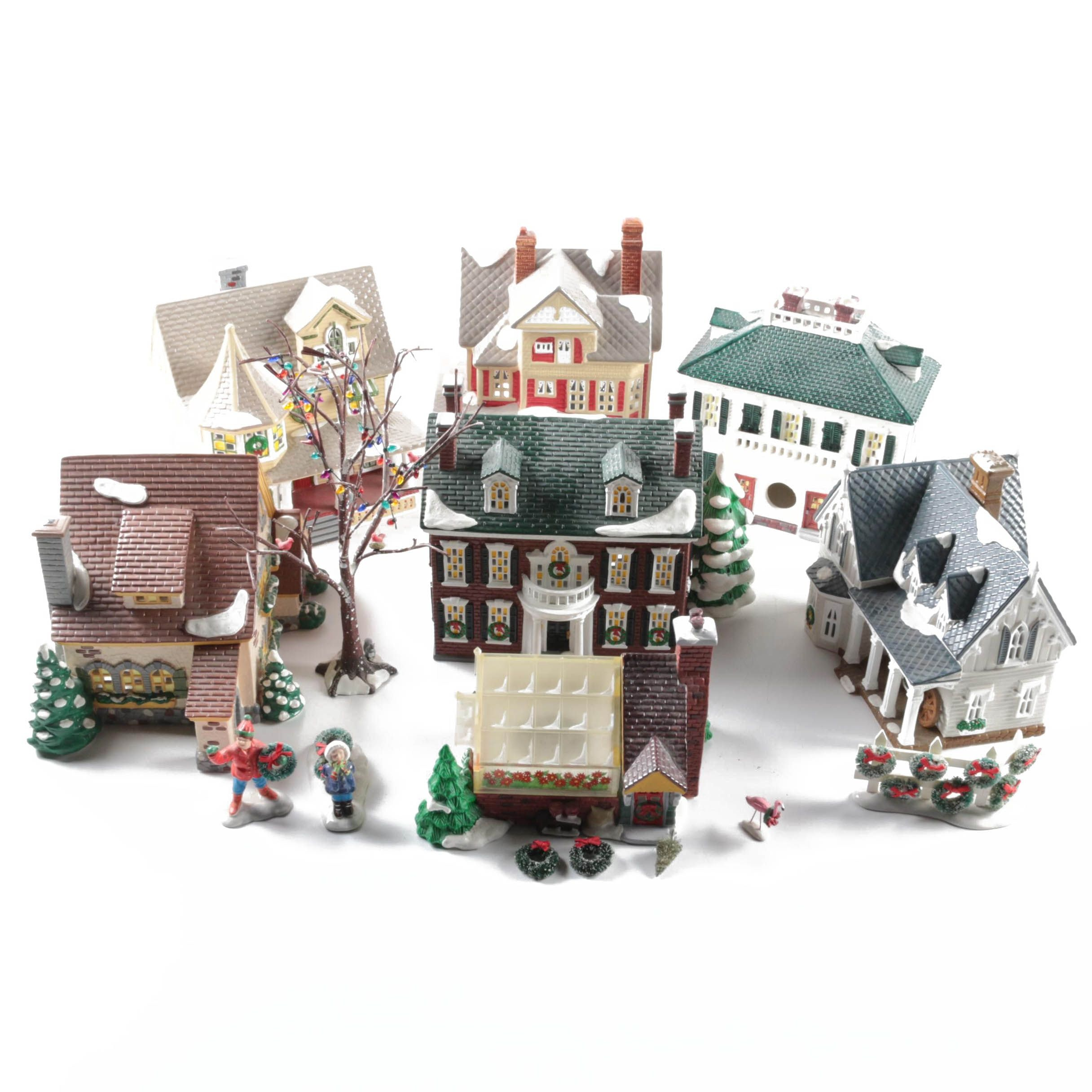 """1990s Department 56 """"Snow Village"""" Ceramic Buildings"""