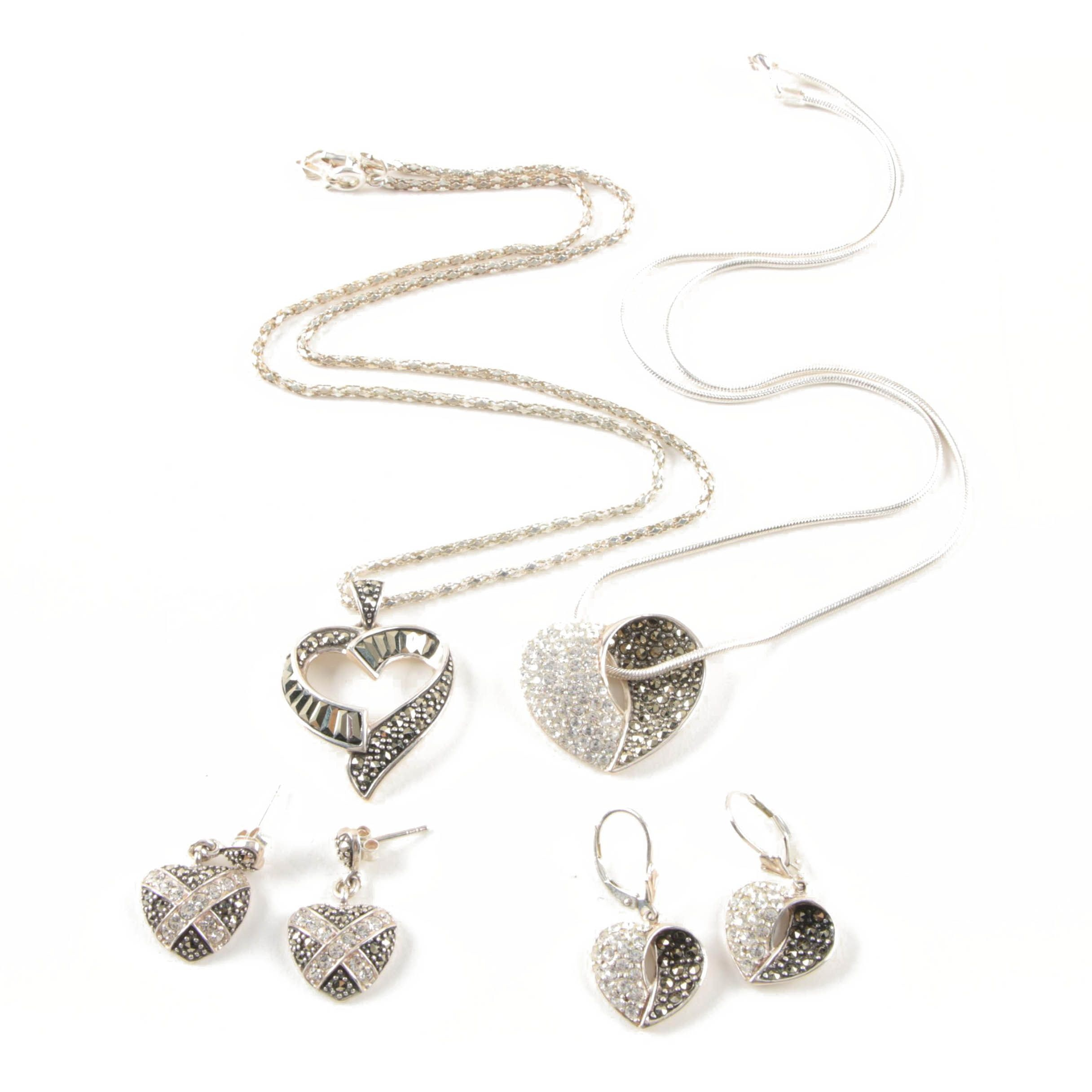Sterling Silver Glass and Marcasite Necklaces and Earrings
