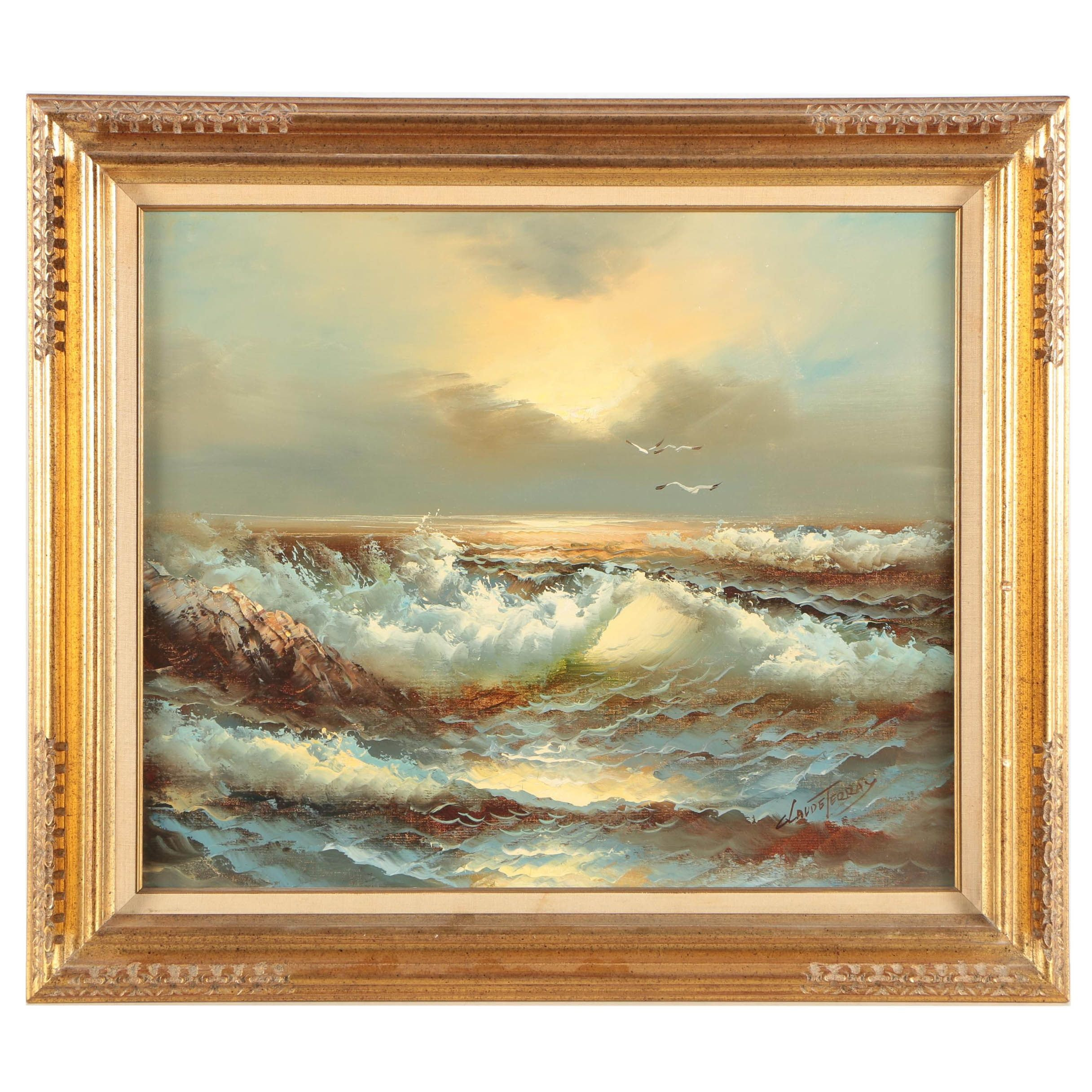 Claude Terray Oil Painting of a Seascape