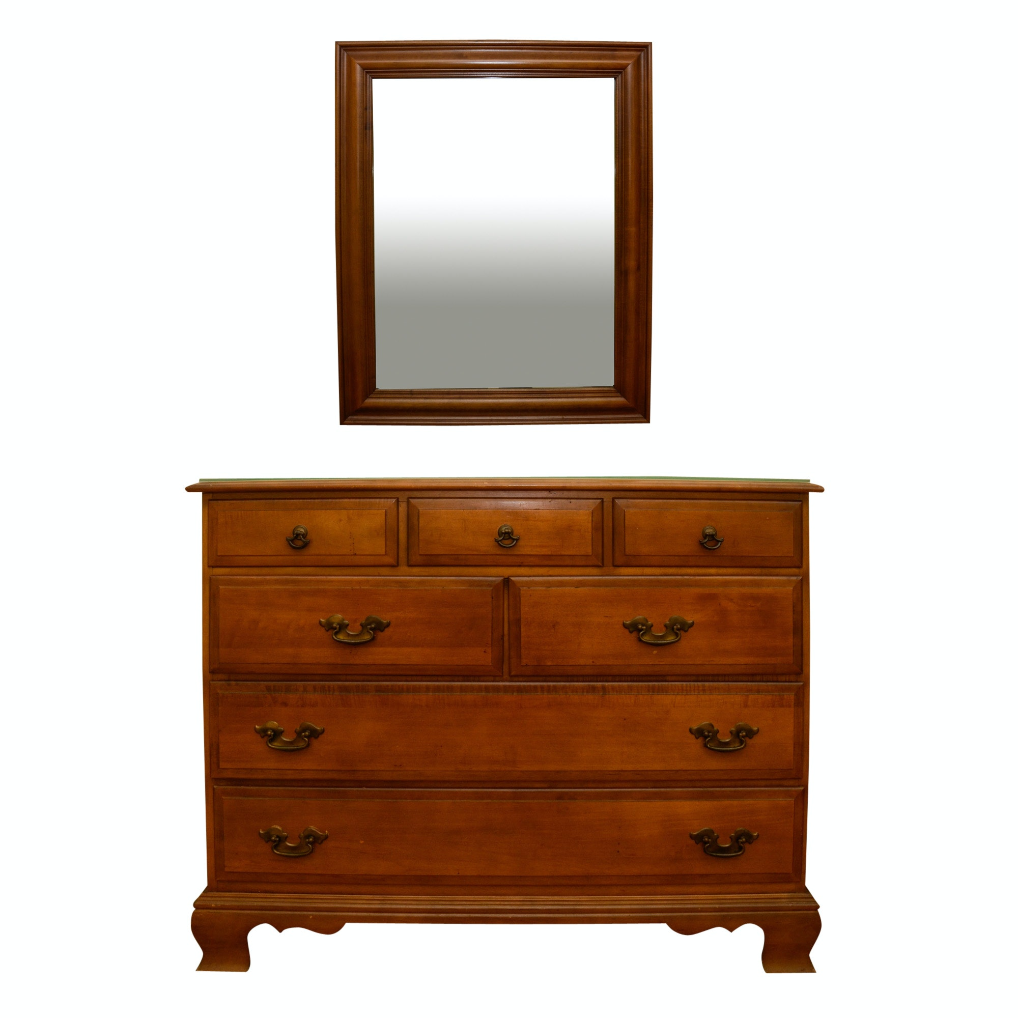 Vintage Colonial Style Maple Chest of Drawers with Mirror by Sumter Cabinet Co.