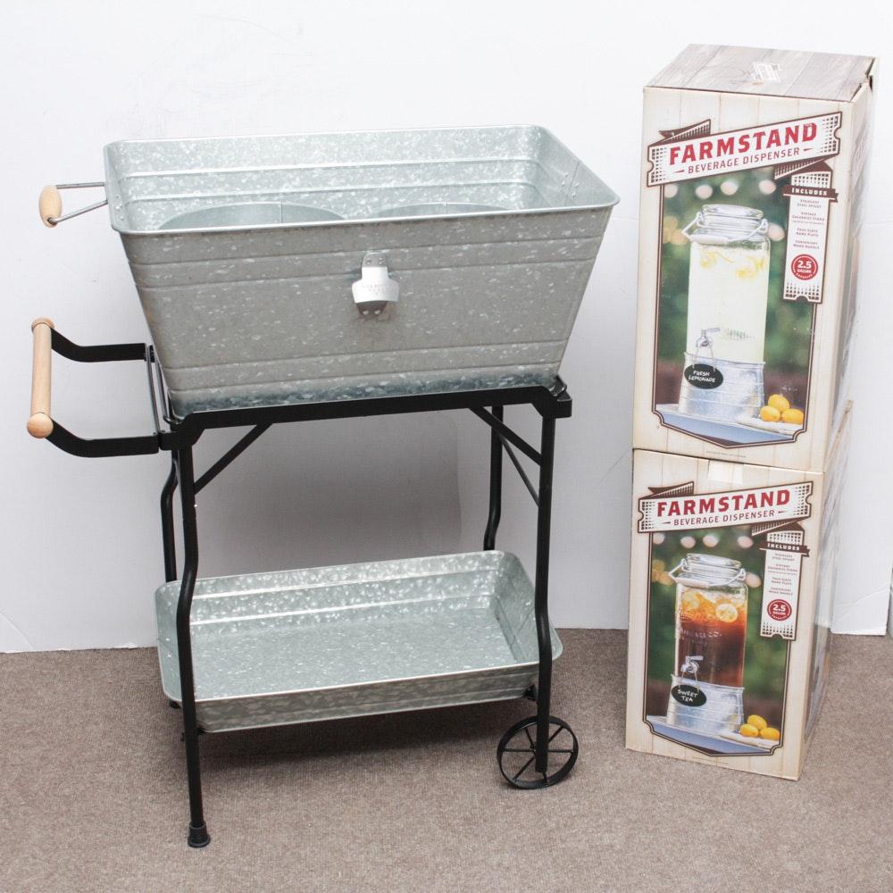 Farmstand Galvanized Beverage Dispensing Cart